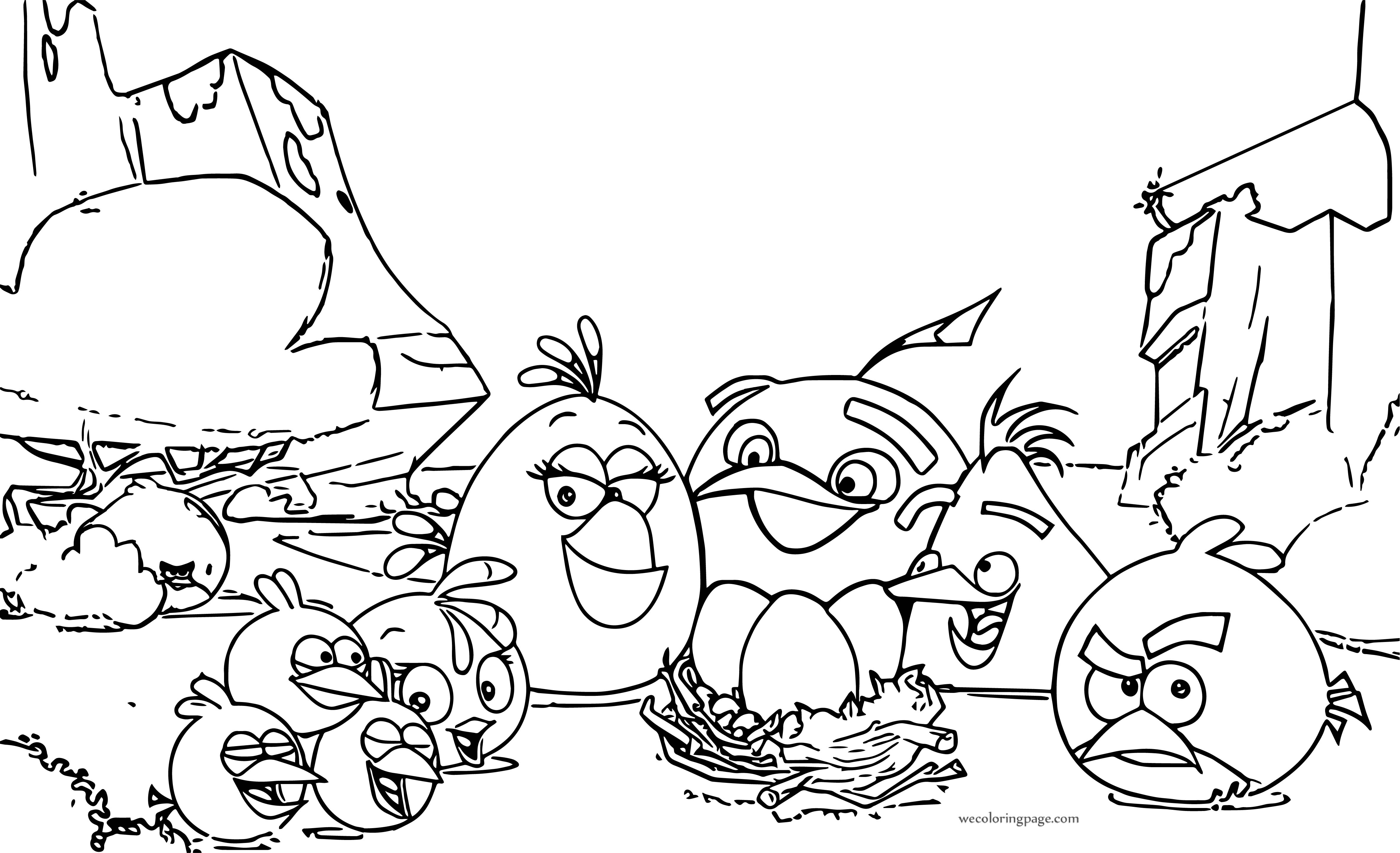 Angry Birds Cartoon Family Coloring Page