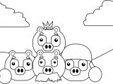 Angry Birds Three Pigs With Eggs Image Coloring Page