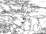 Baby Piglet Winnie The Pooh Playing In Forest Coloring Page
