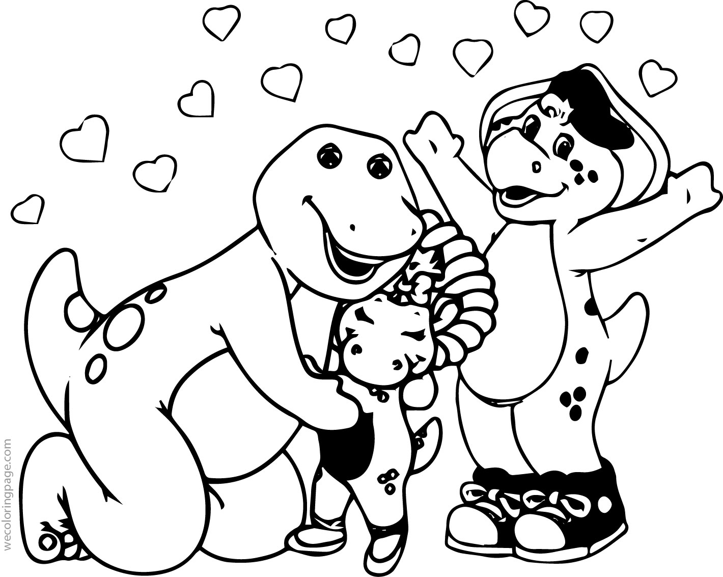 Barney And Friends Heart Coloring Page