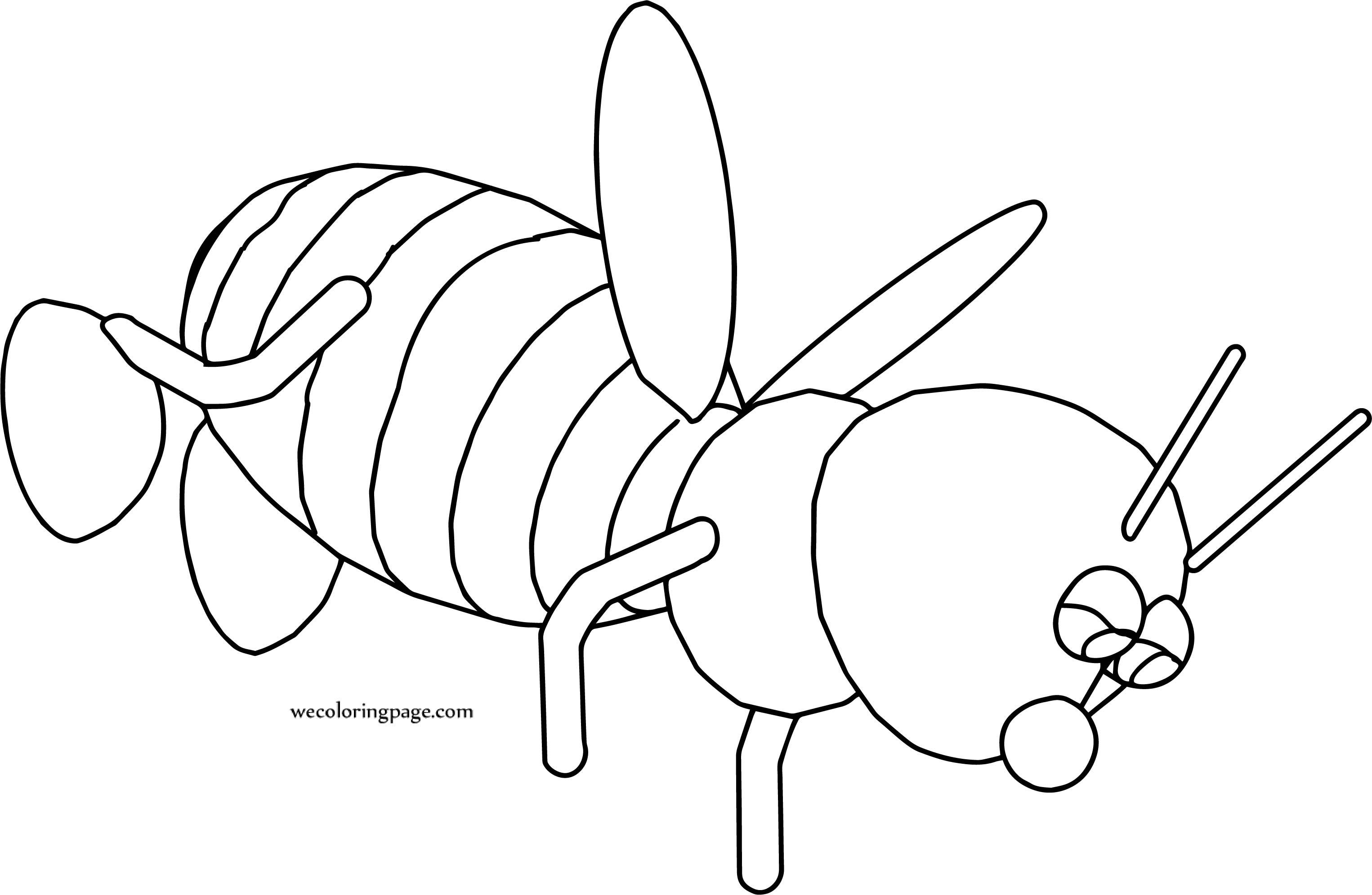 Bee Drop Cartoon Coloring Page