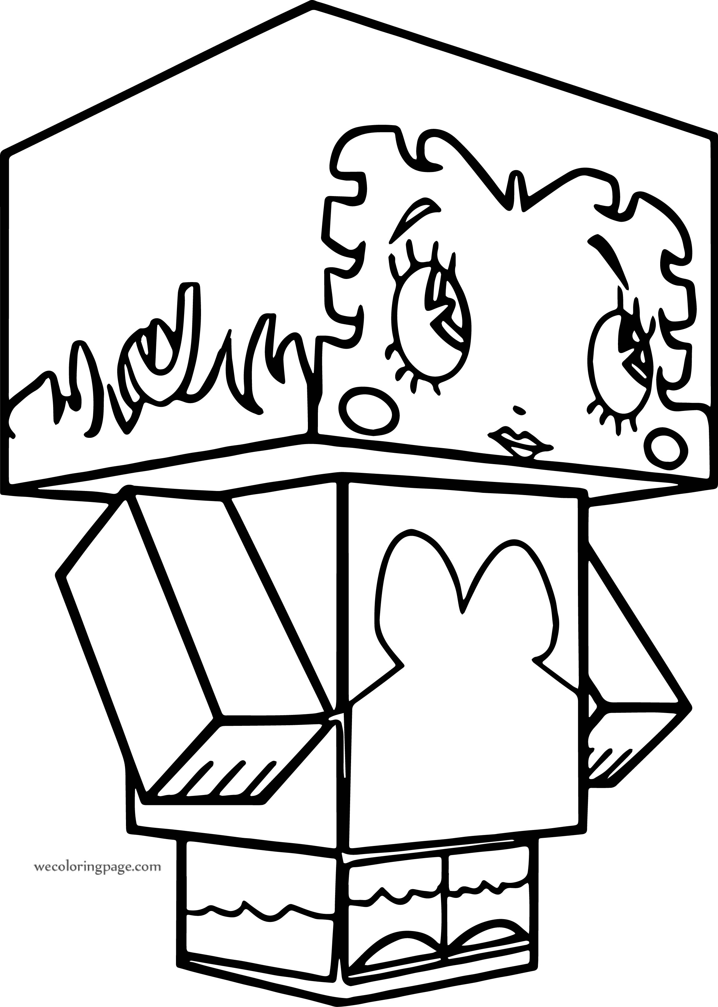 Betty Boop Minecraft Cube Character Coloring Page
