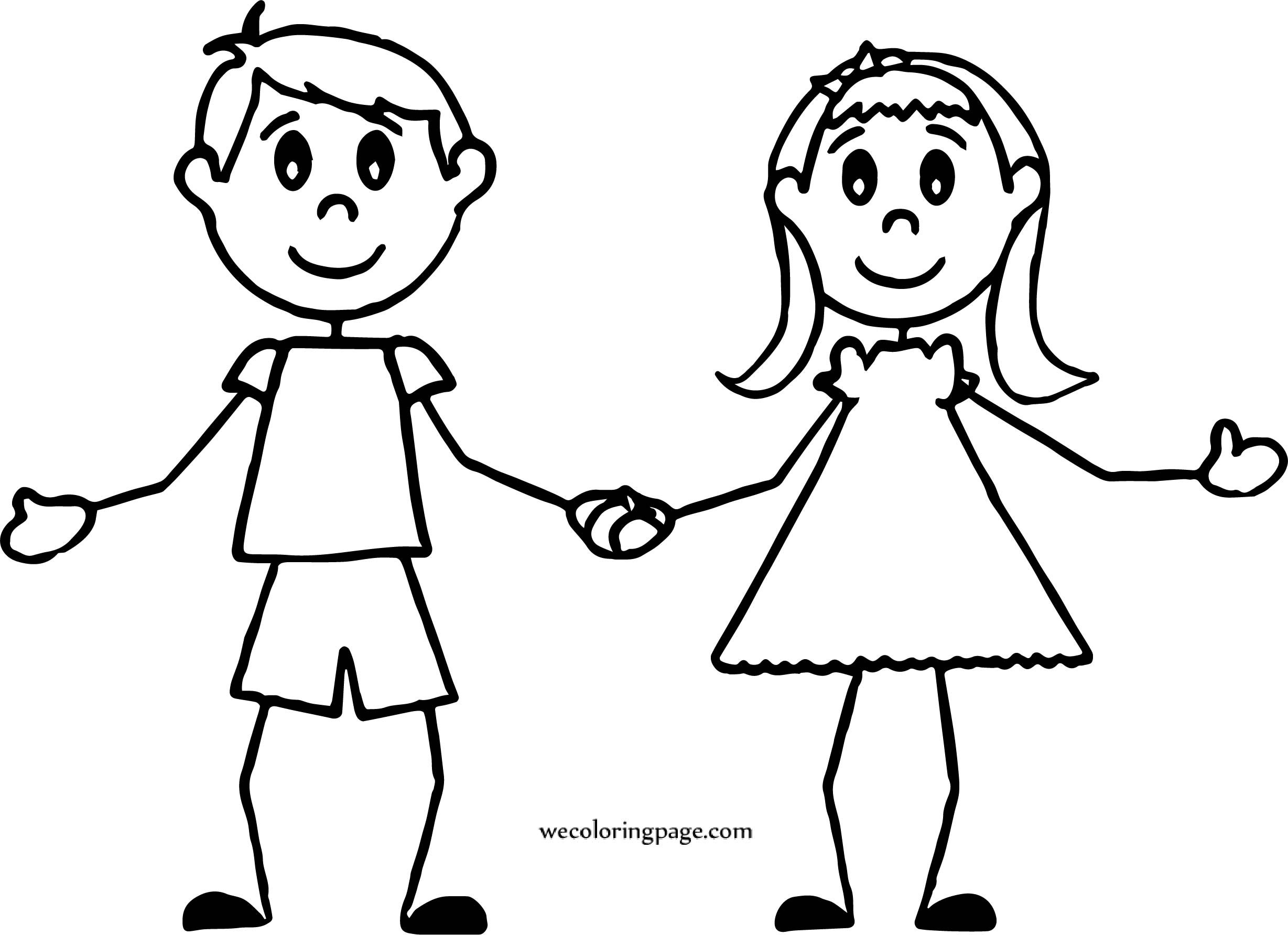 Boy And Girl Holding Coloring Page