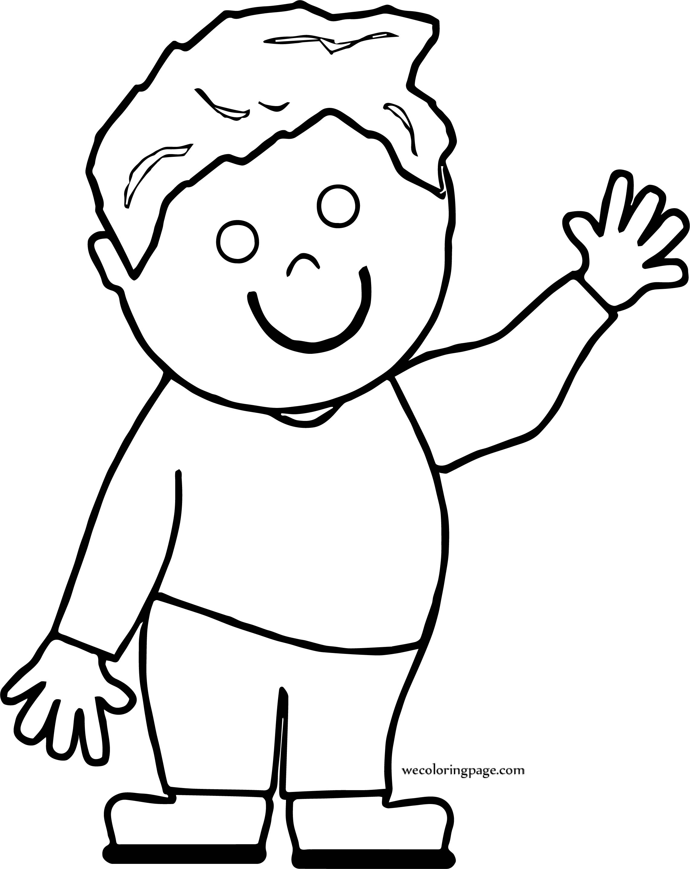 Boy Hello Kid Coloring Page