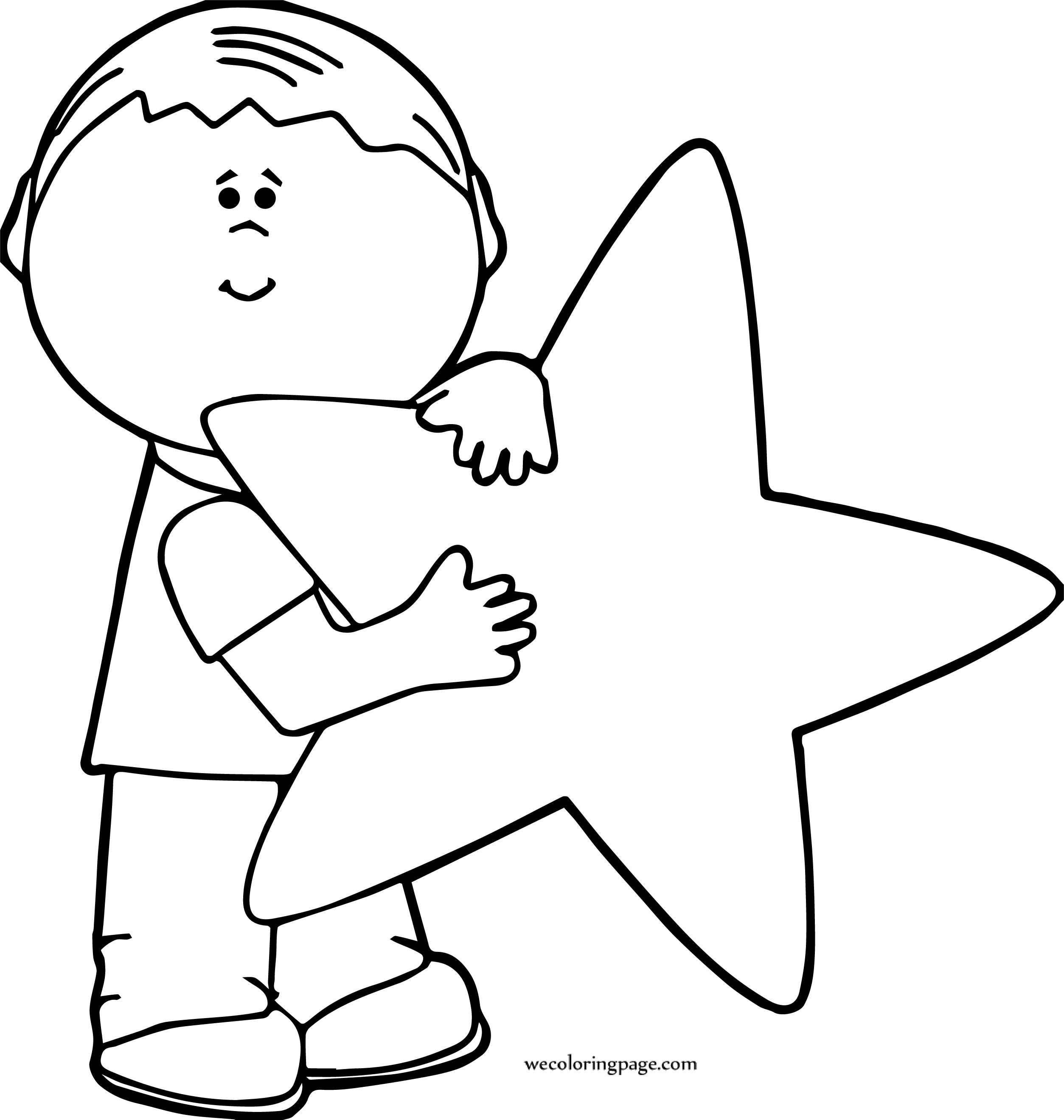 Boy Holding Star Coloring Page