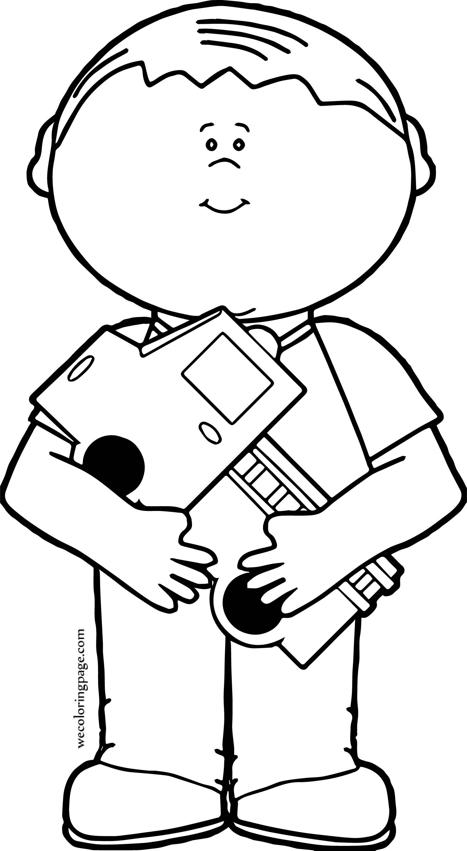 Boy Hug Truck Coloring Page