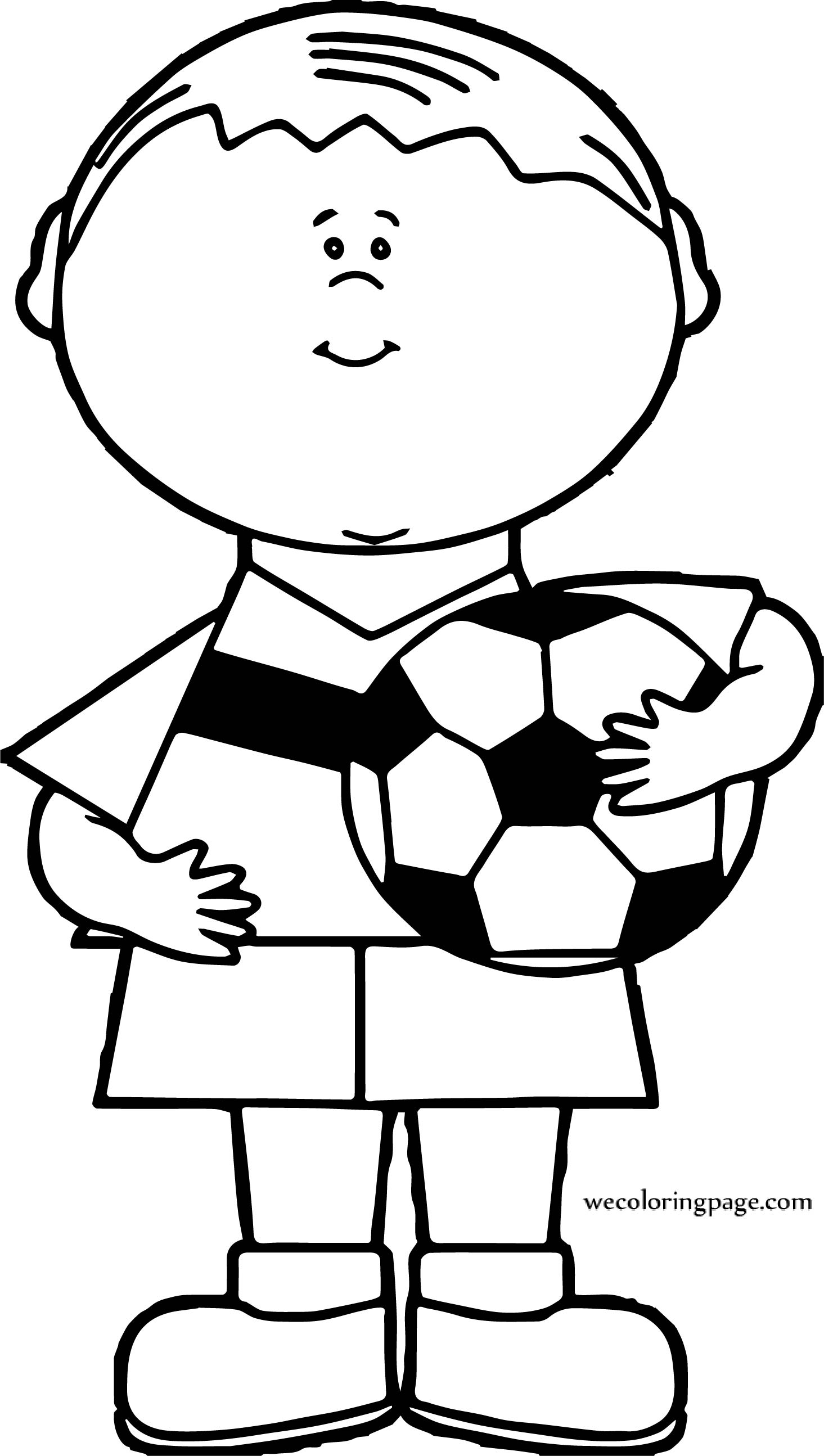 Boy Soccer Ball Holding Coloring