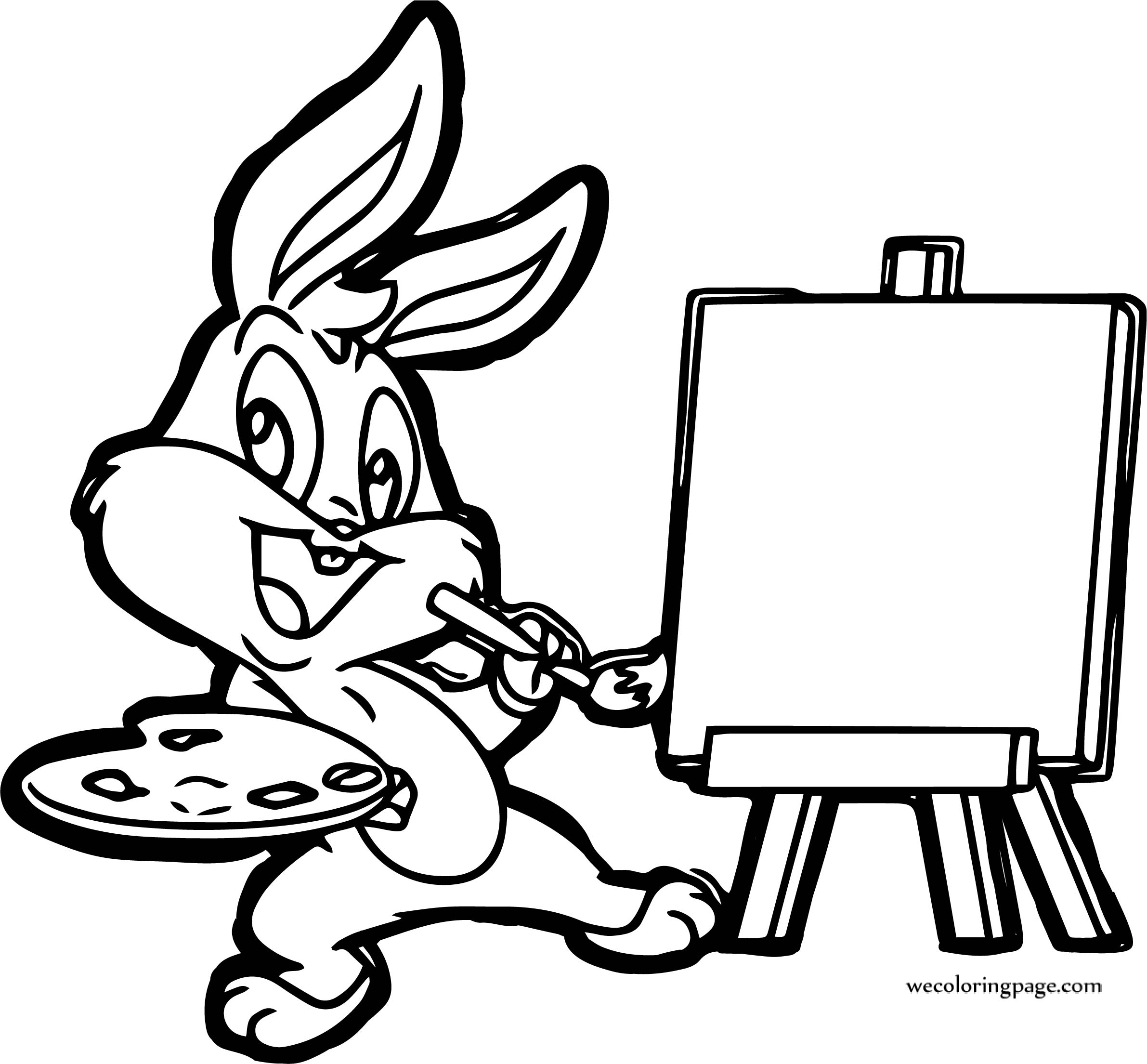 Bugs Bunny Painting Cartoon Coloring Page