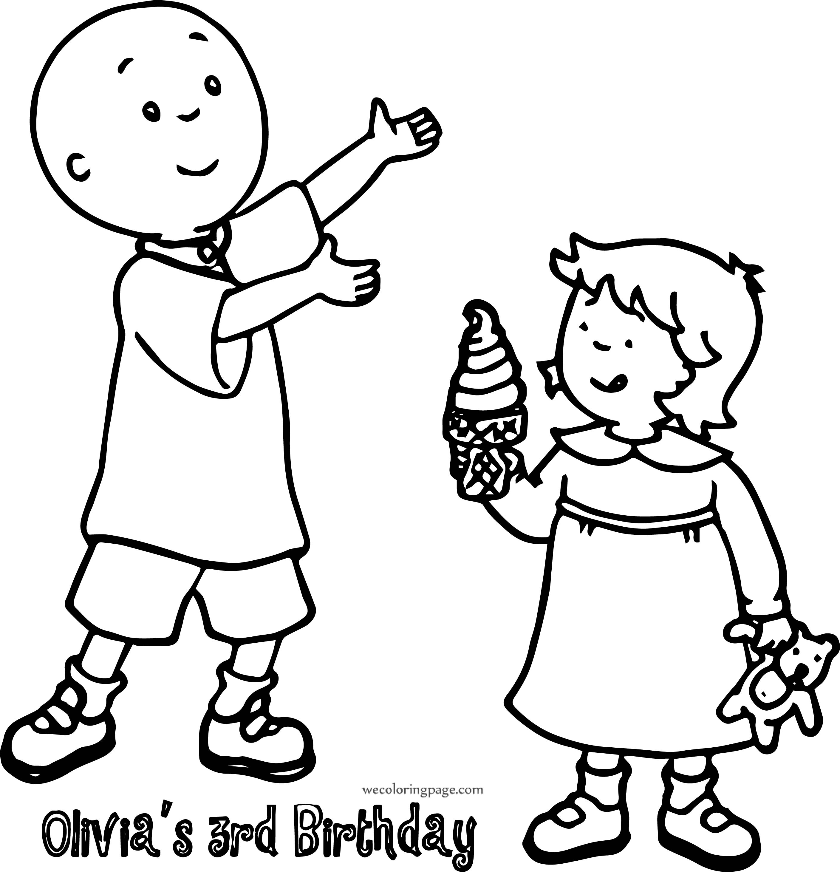 Caillou 3rd Birthday Coloring Page
