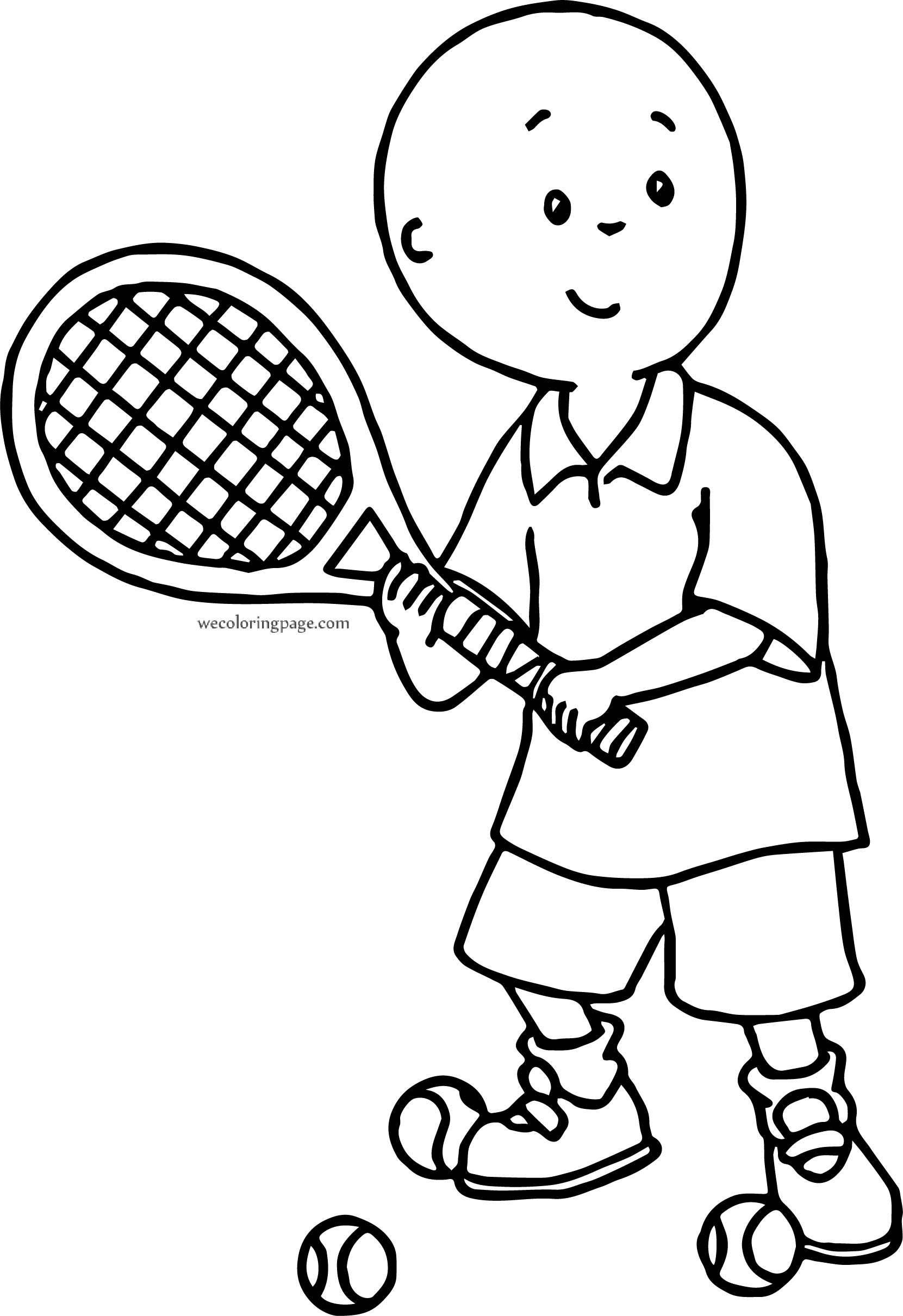 Caillou Tennis Player Coloring Page