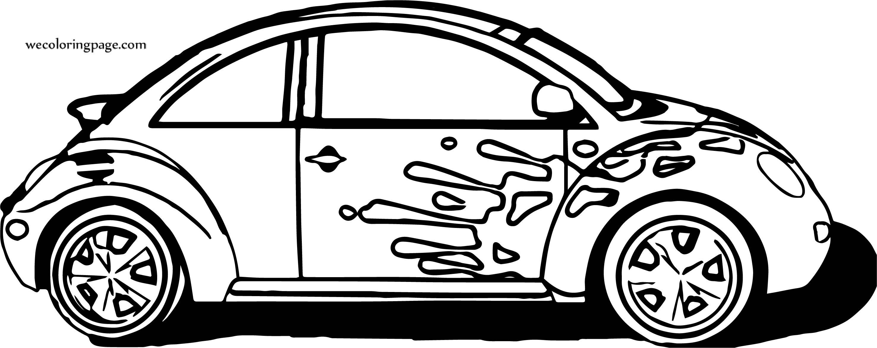 Car Volkswagen Beetle Coloring Page