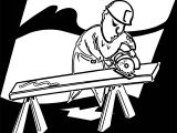 Carpenter Cut Wood Coloring Page