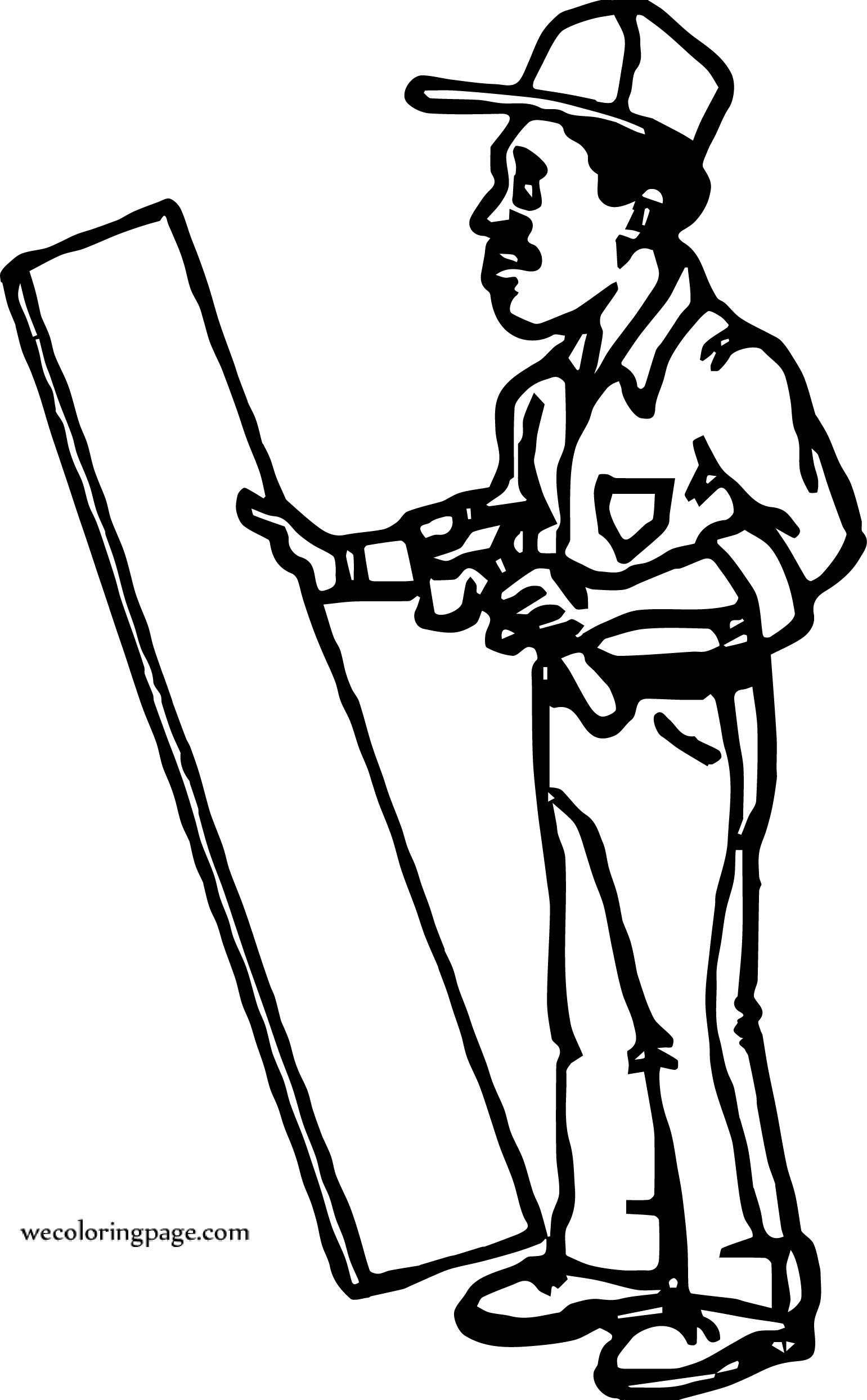 Carpenter Holding Wood Coloring Page