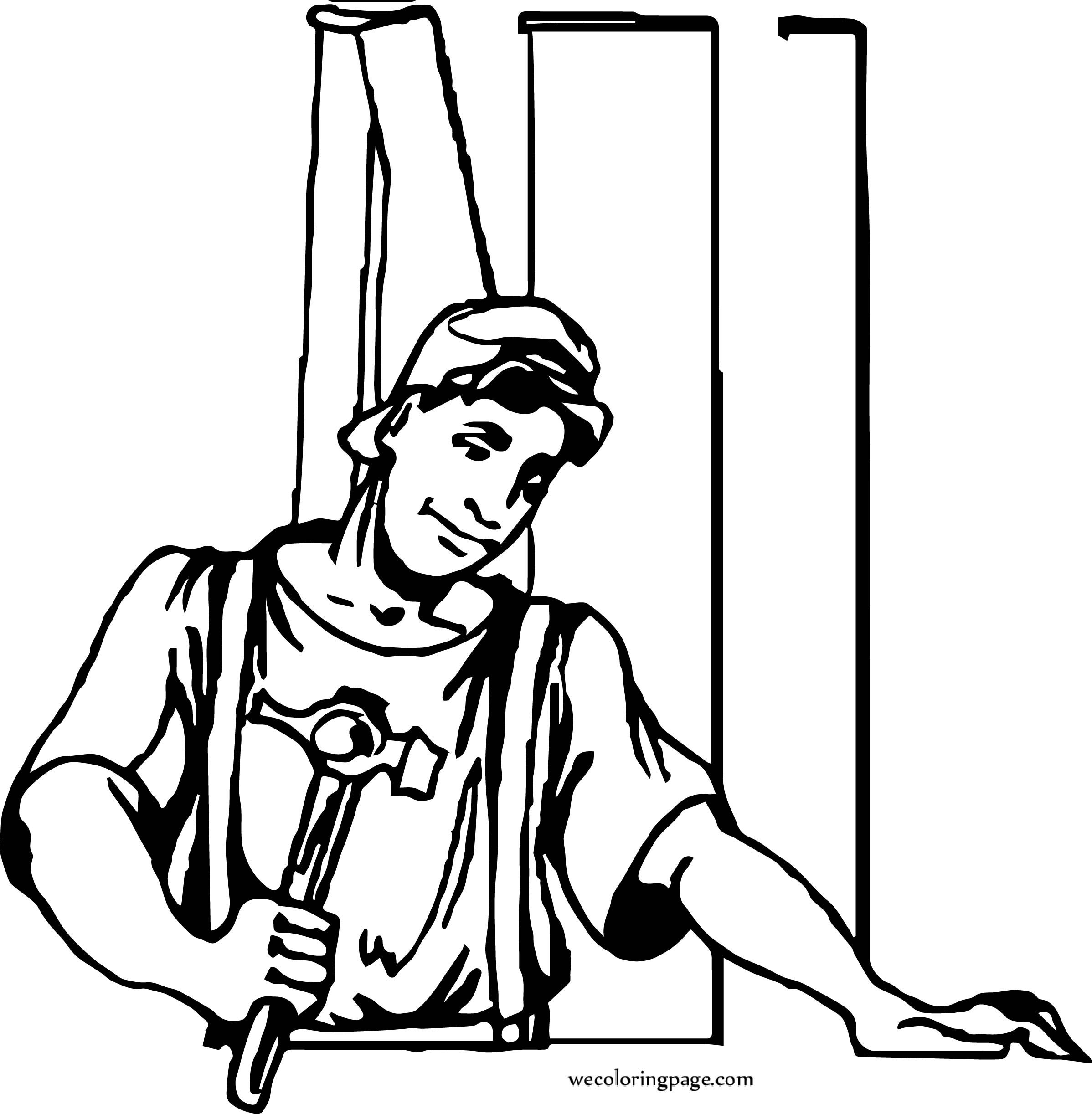 Carpenter Working Young Coloring Page