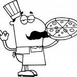 Cartoon Man Delicious Pizza Coloring Page