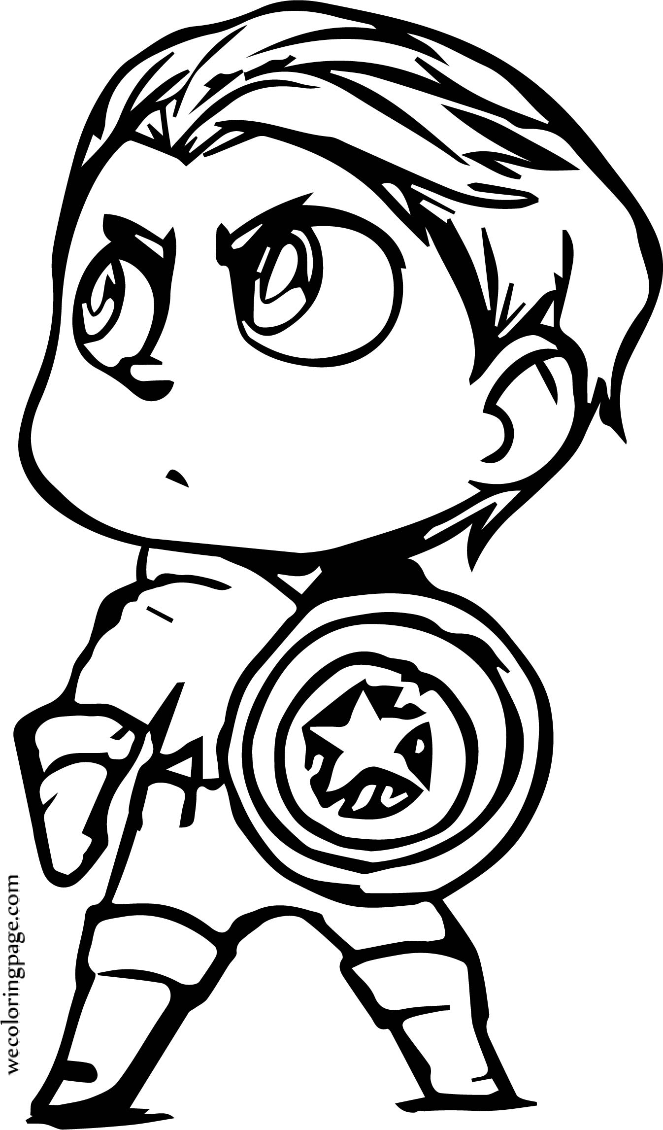 Chibi Small Captain America Coloring Page