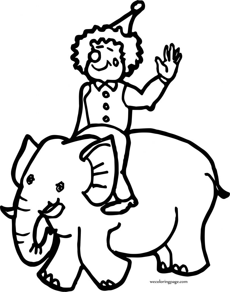 Circus Clown On Elephant Coloring Page | Wecoloringpage.com