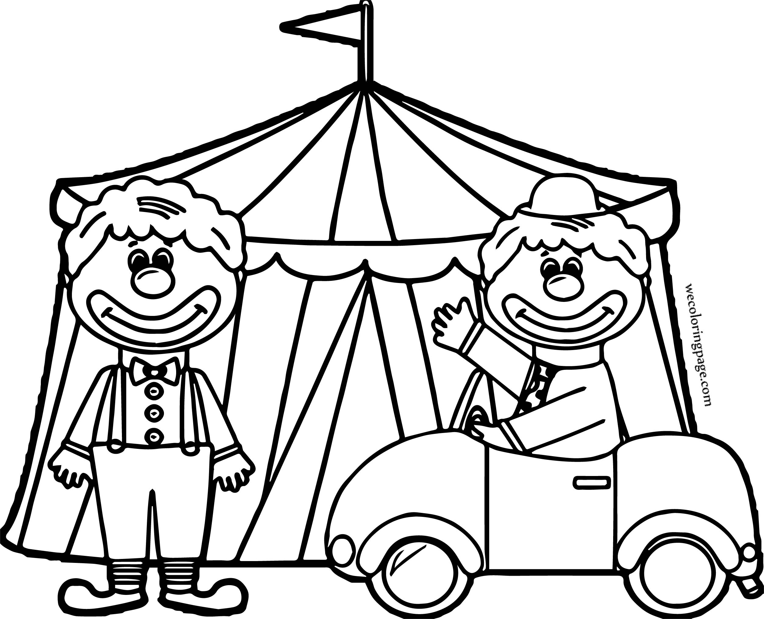 Car Themed Coloring Pages : Circus clown tente car coloring page theme