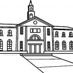 College Building Coloring Page