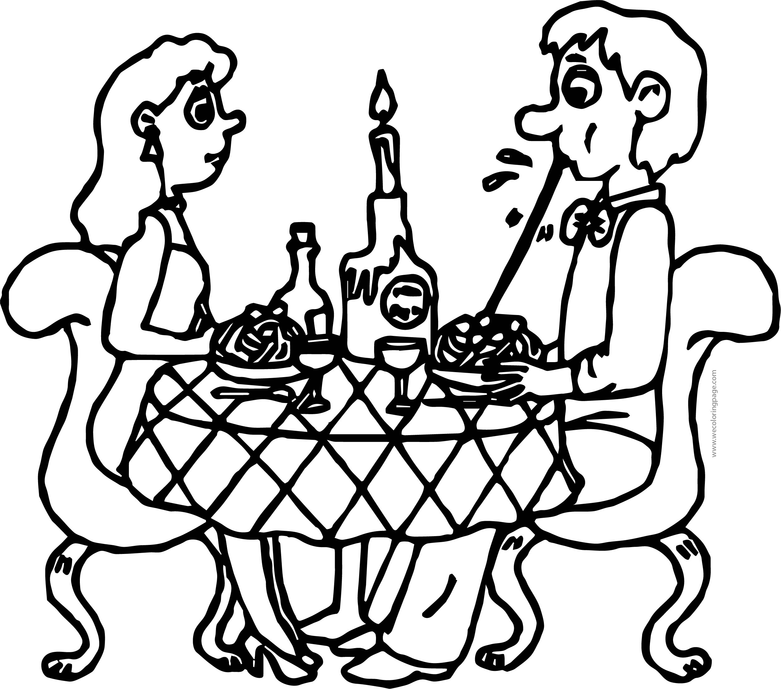 Couple Pizza Eating Coloring Page