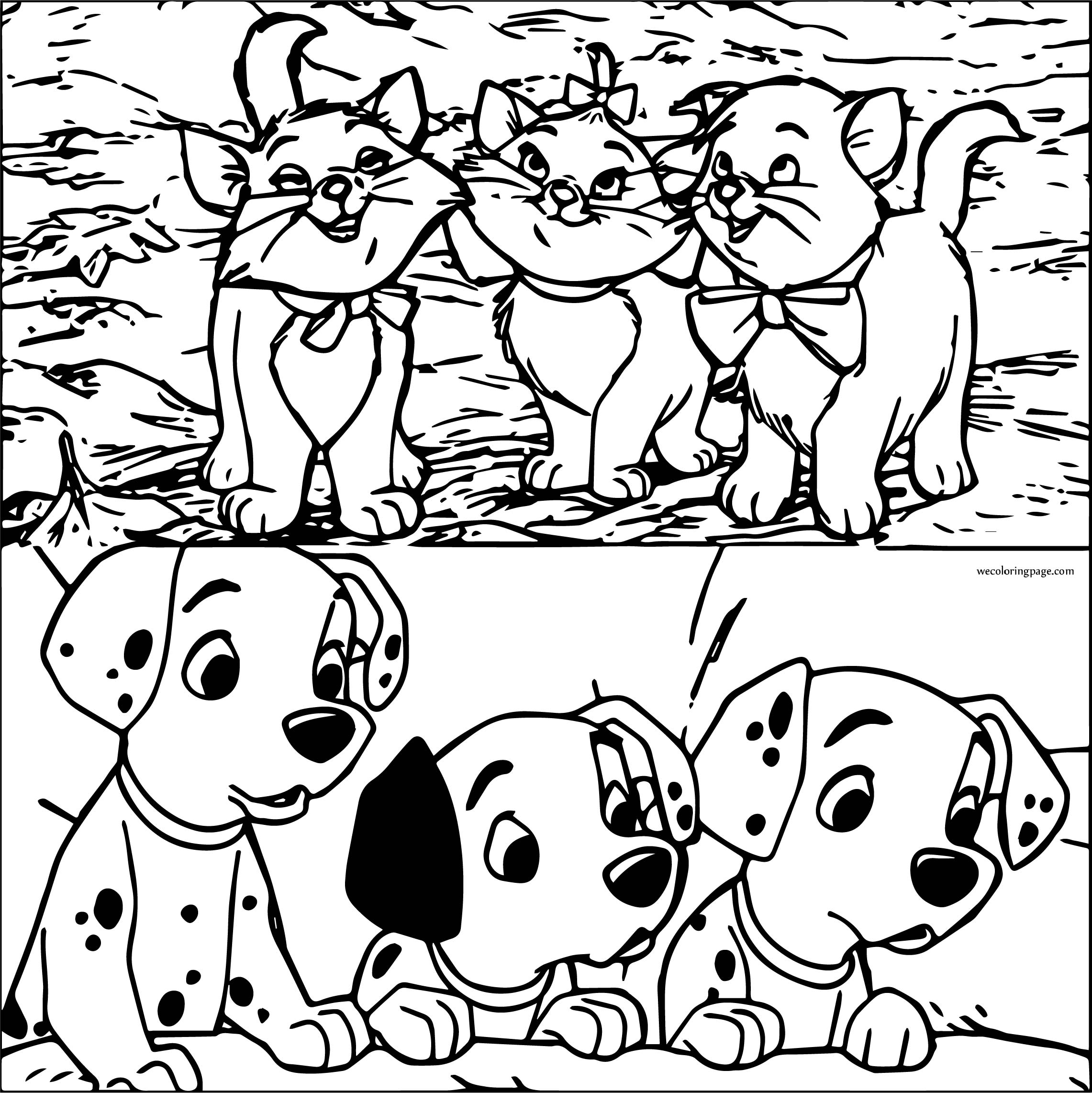 Disney The Aristocats And Dalmatians Coloring Page