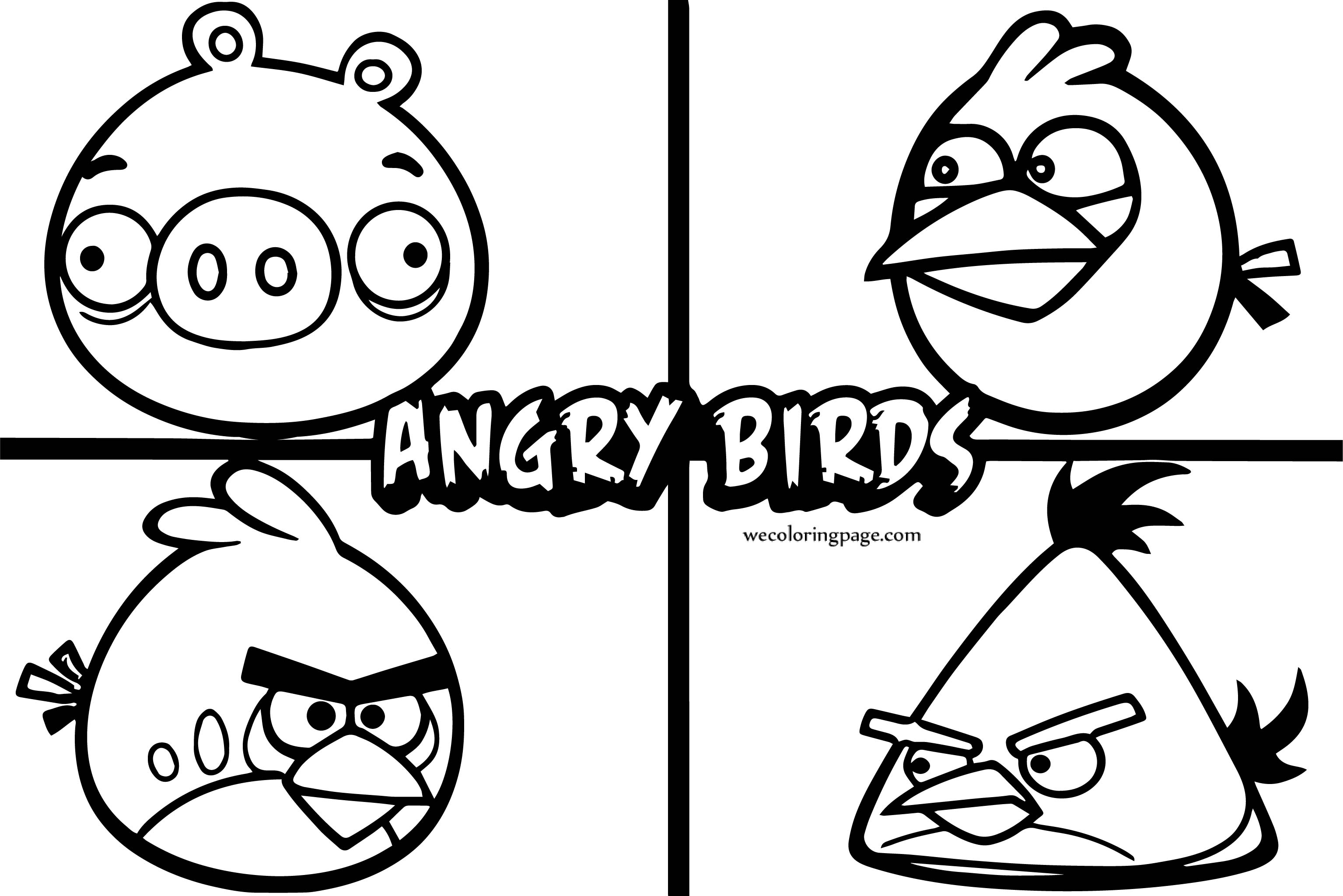 Four Angry Birds Character Coloring Page