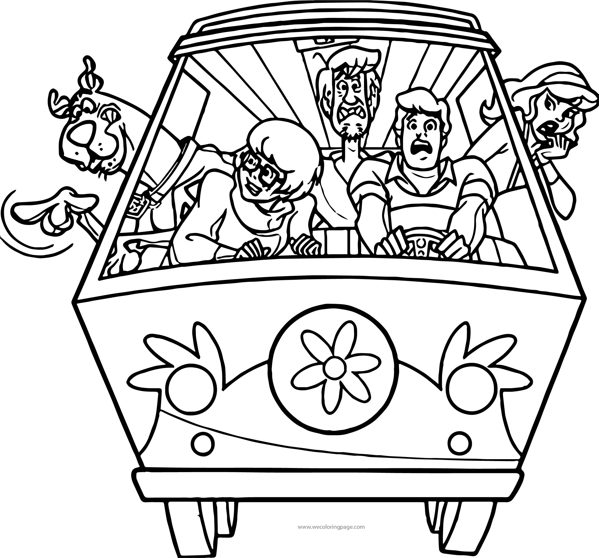 Front Car Scooby Doo Scream Coloring Page | Wecoloringpage.com