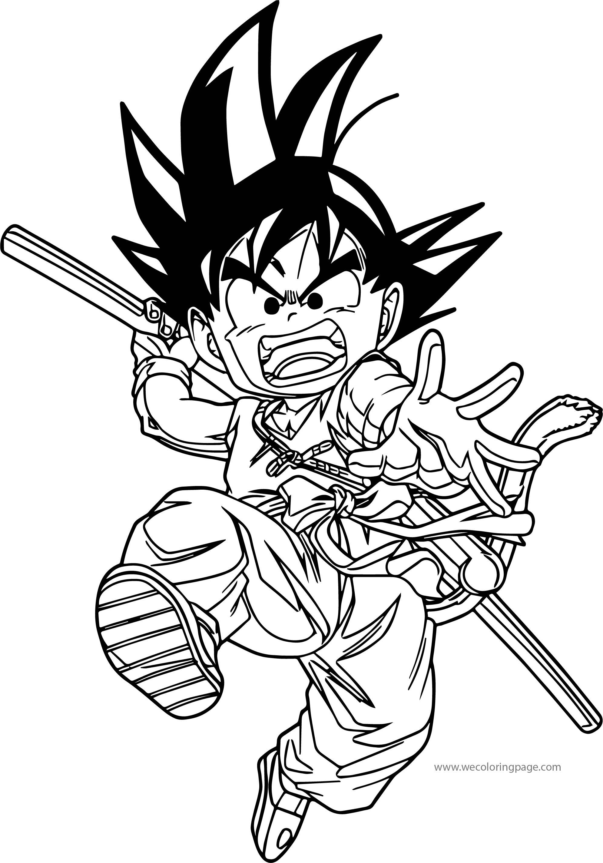 Goku Bat Kick Coloring Page | Wecoloringpage.com