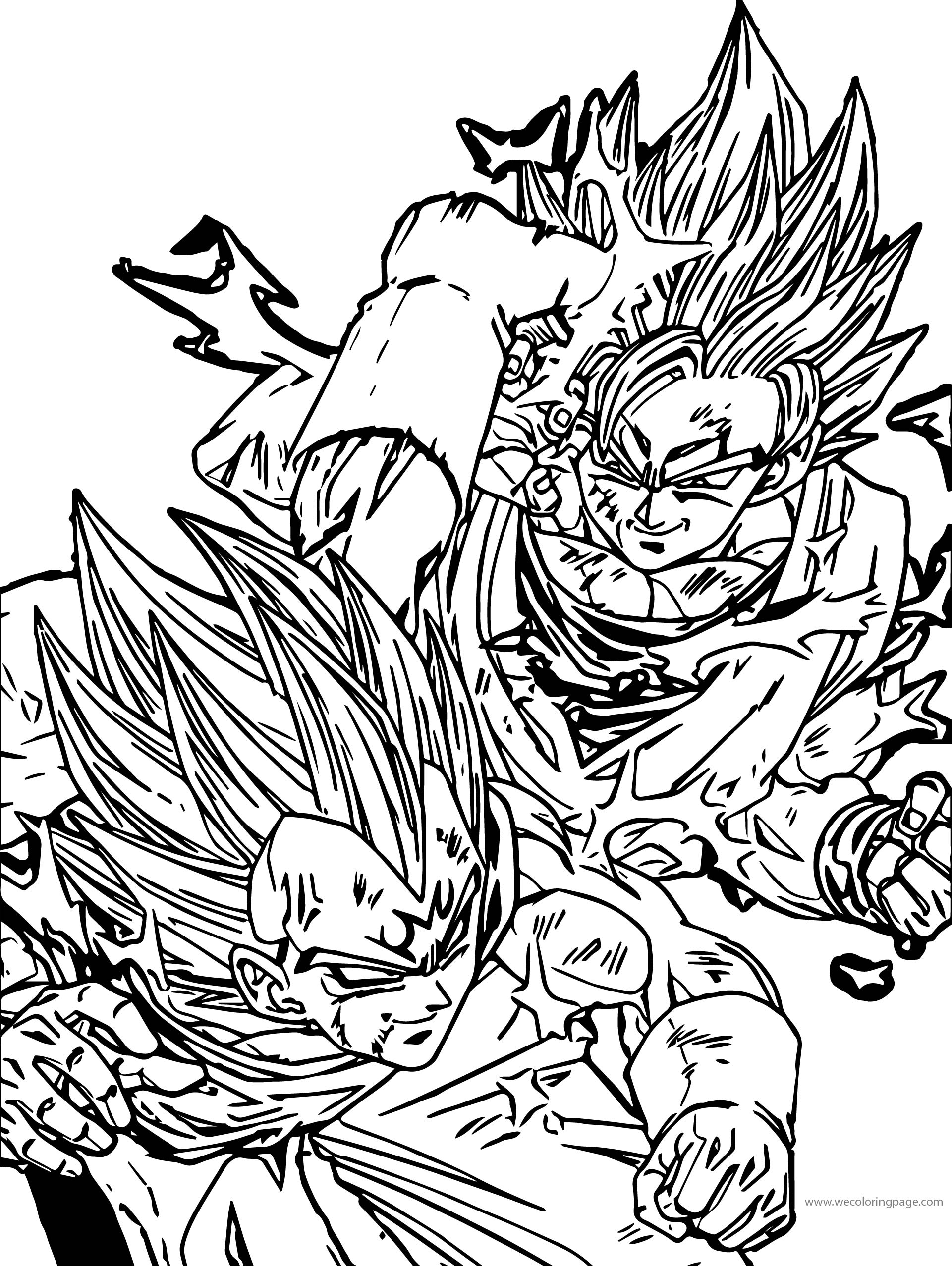 Goku Double Fight Coloring Page