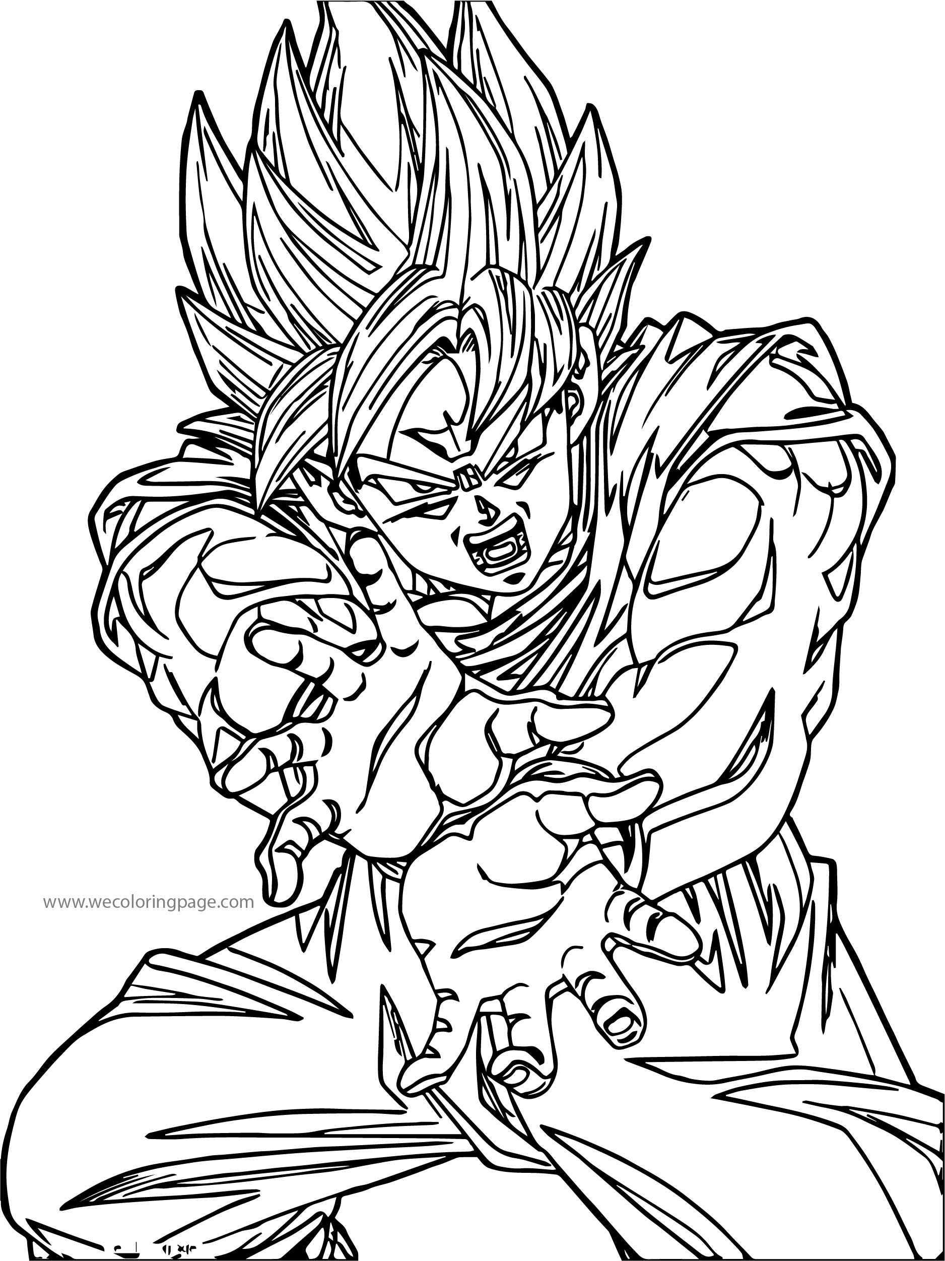 Goku Fire Kick Coloring Page