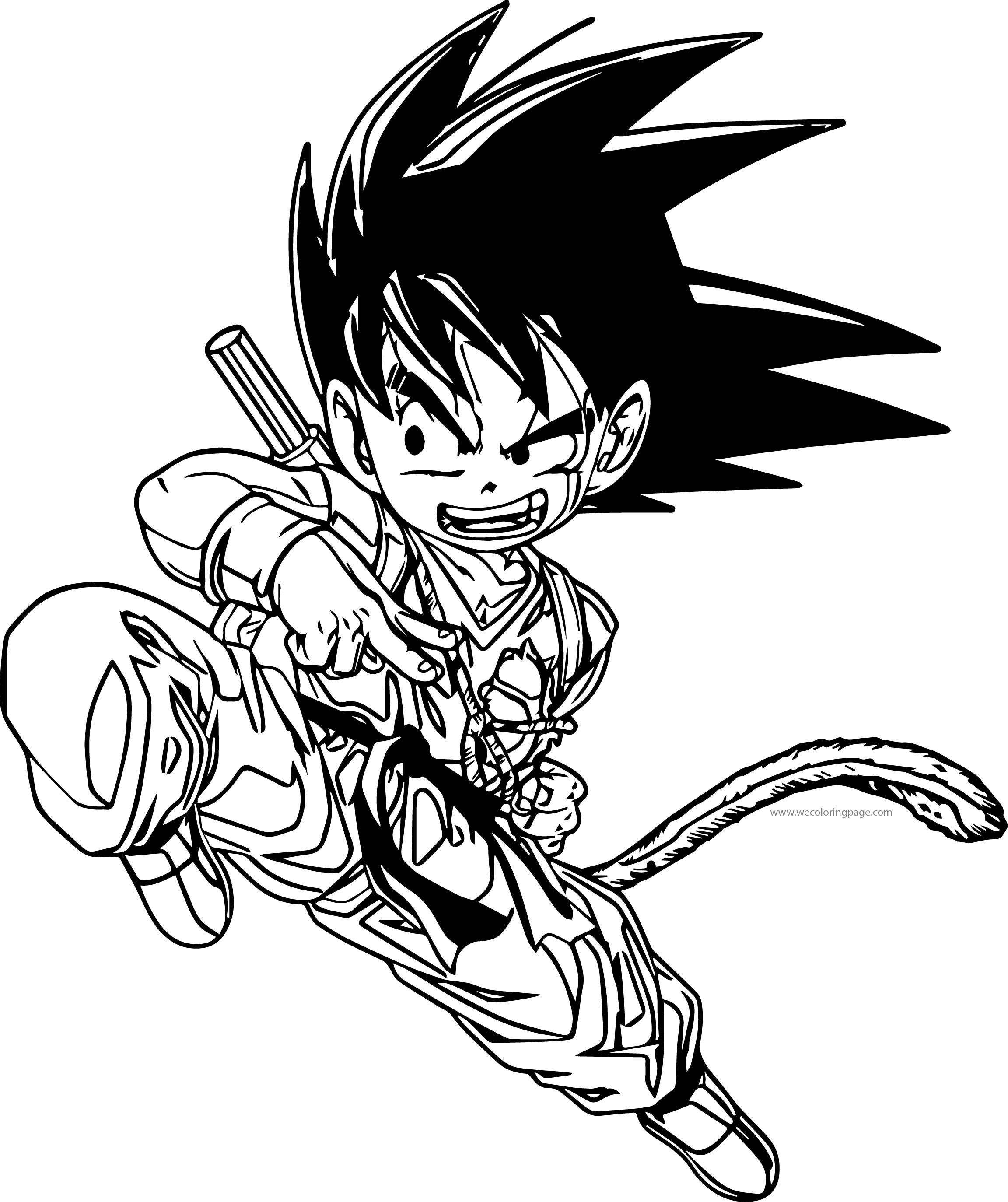 Goku Small Kick Coloring Page