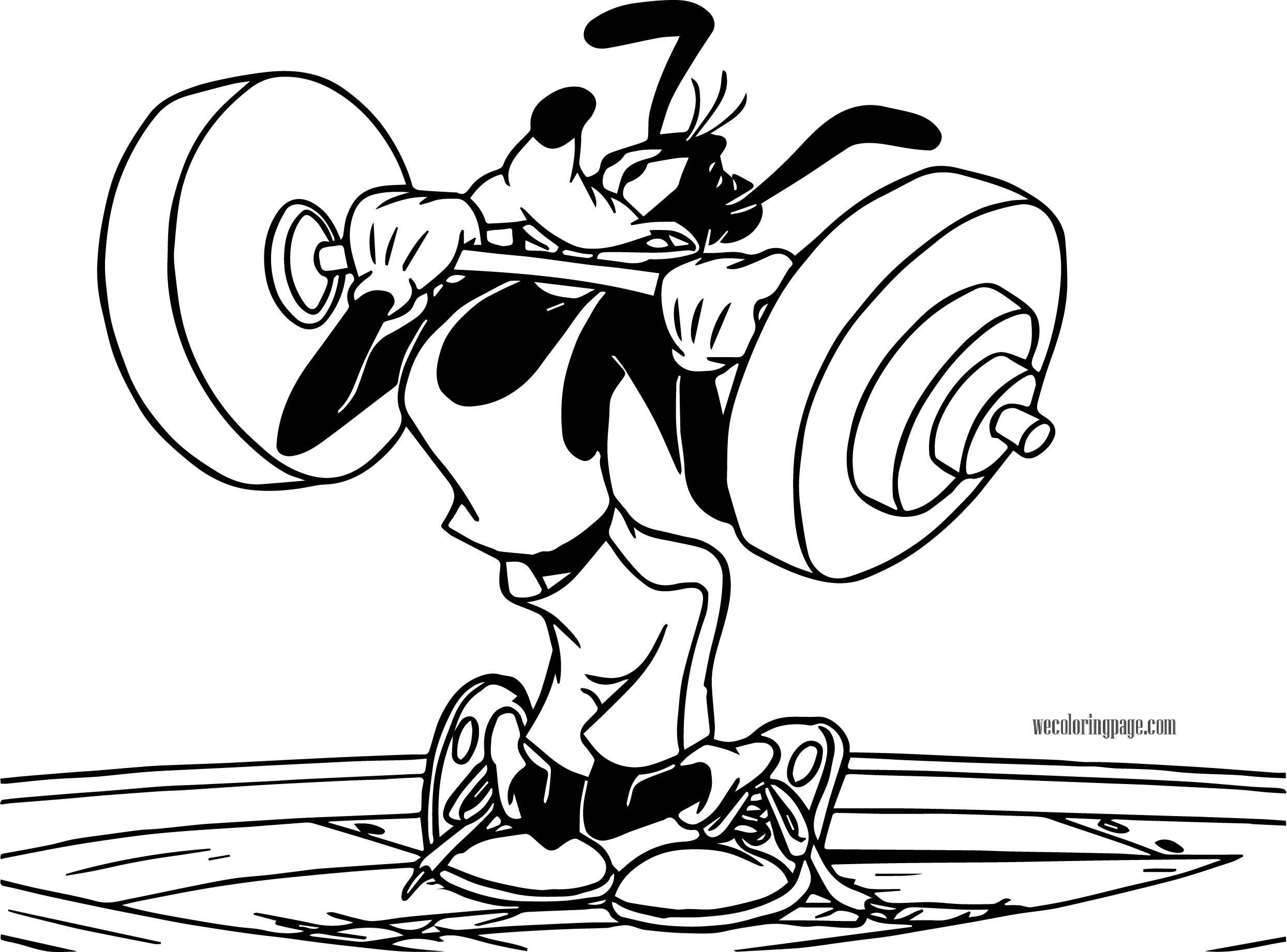 Goofy Lifting Weight Coloring Page
