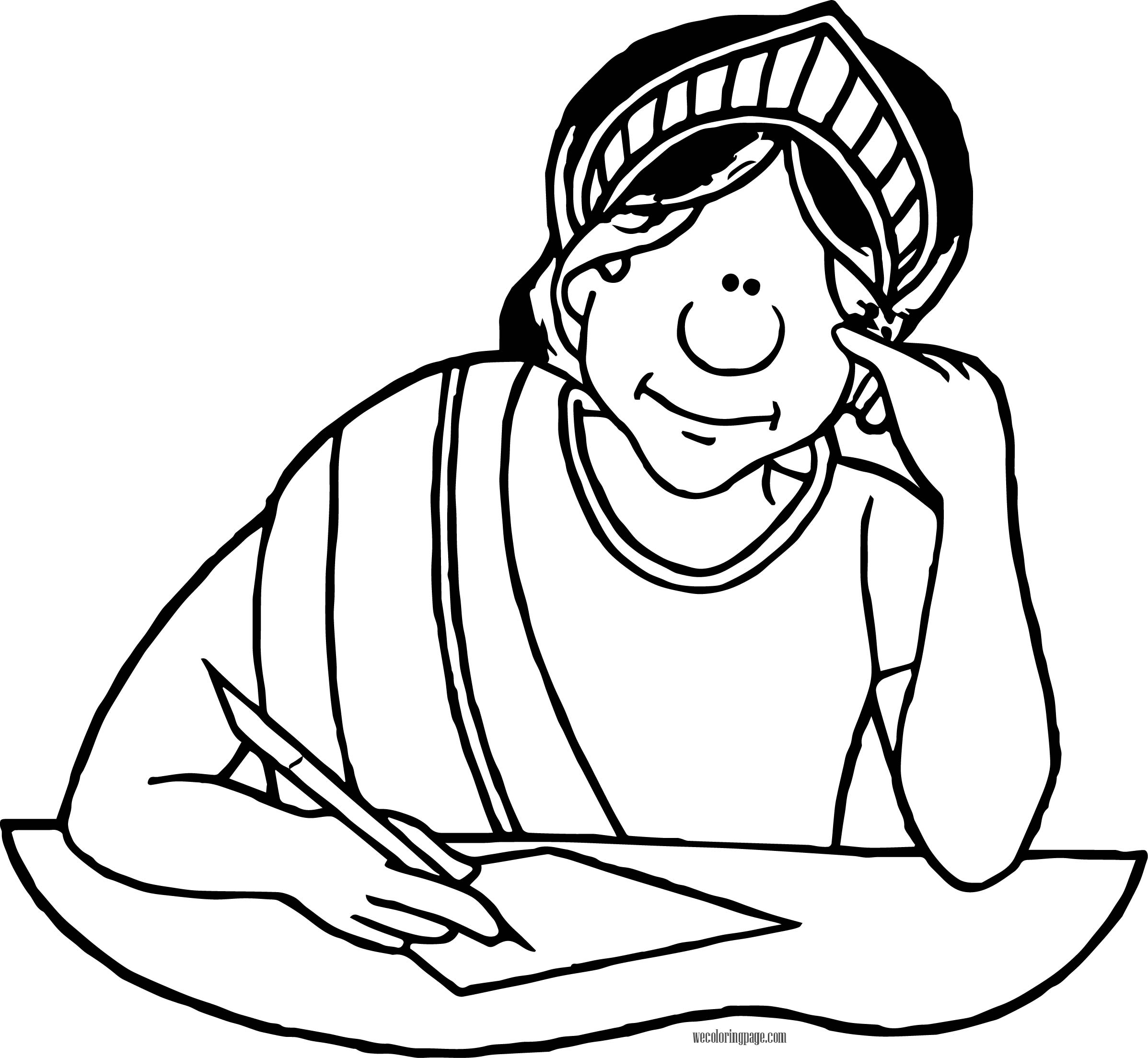 Greek Writer Woman Coloring Page