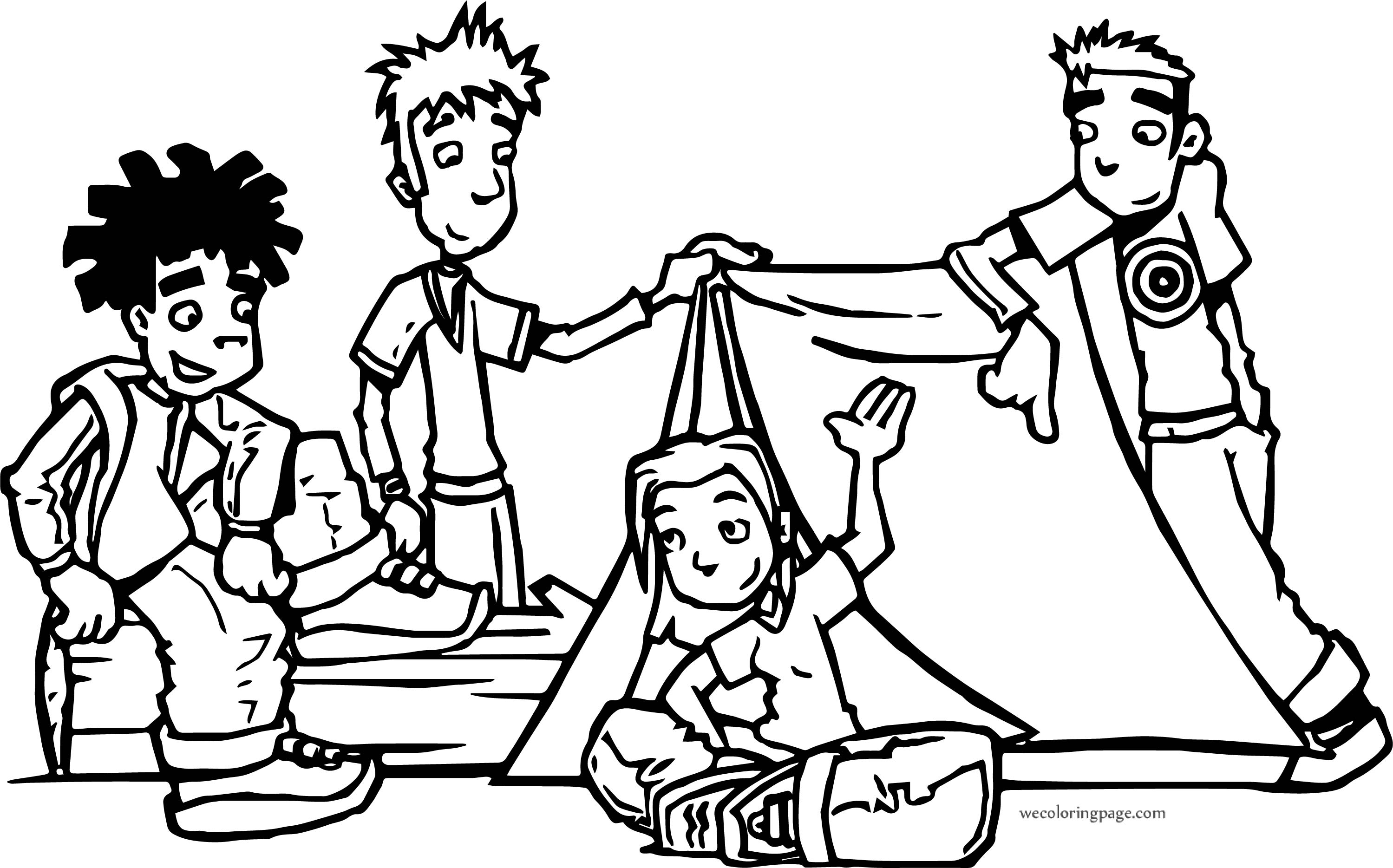 Gunfire Camping Kids Coloring Page