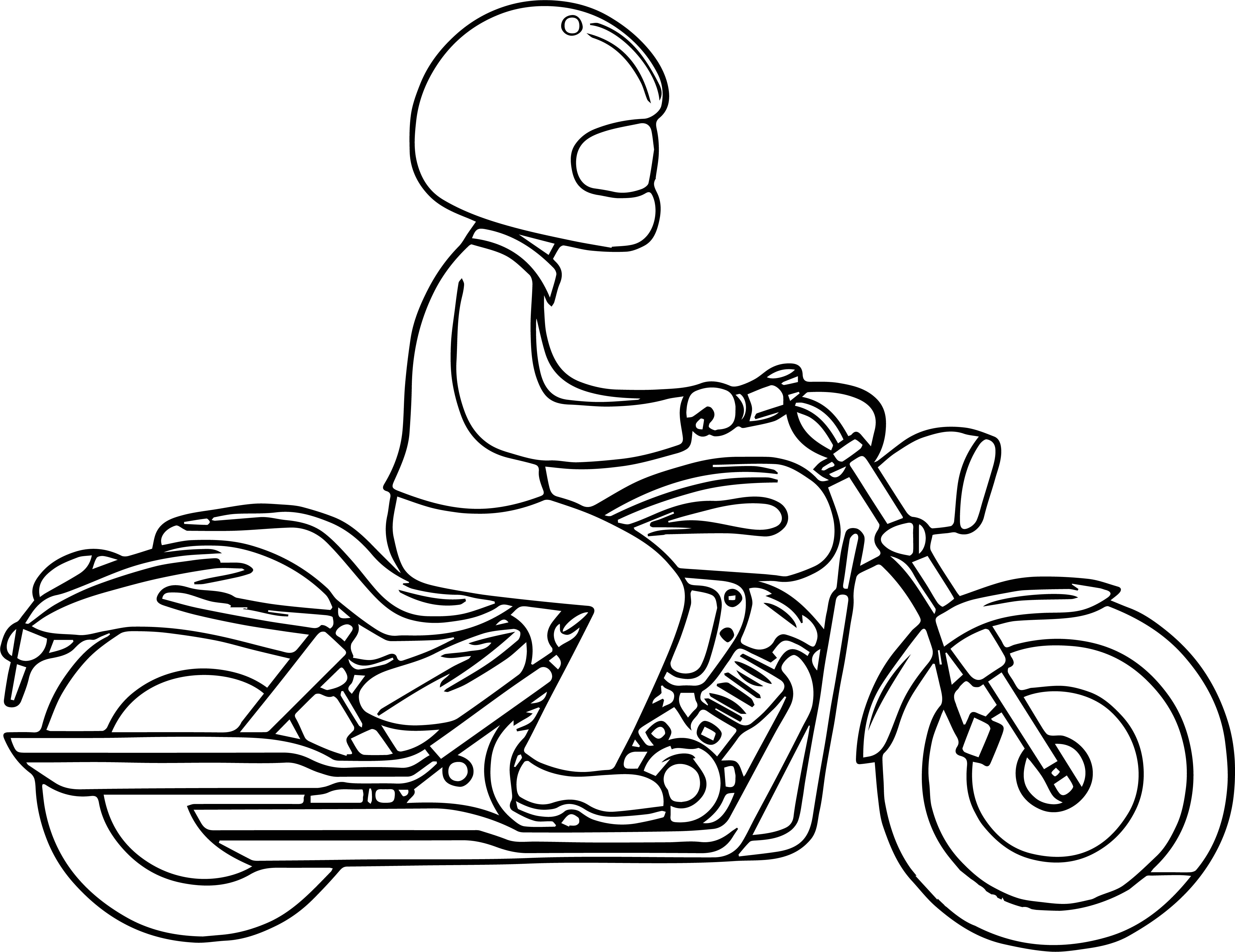 Man Riding A Motorcycle Coloring Page