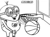 Minion My Ball Playing Basketball Coloring Page
