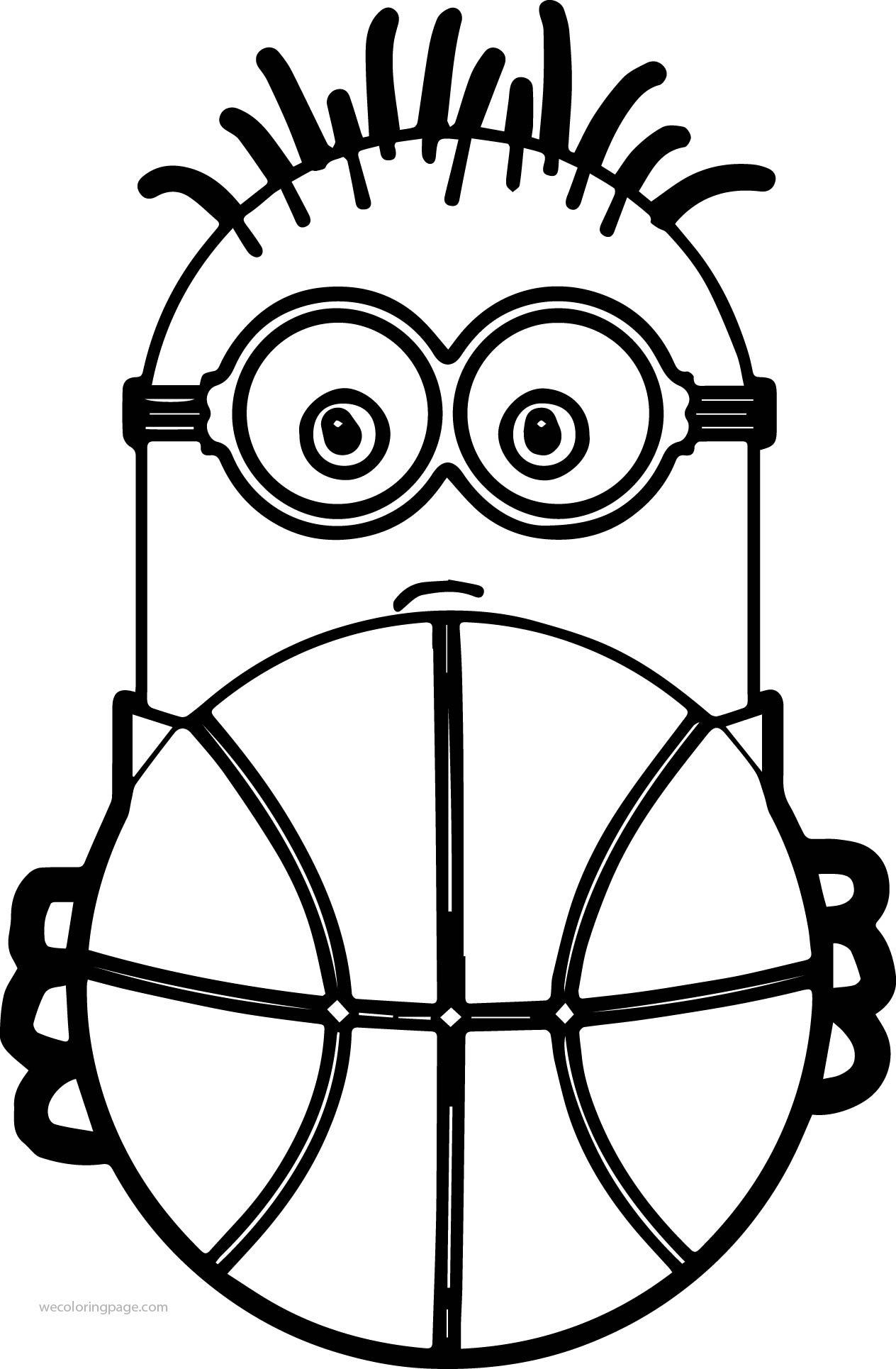 Minion Playing Basketball And Ball Coloring Page