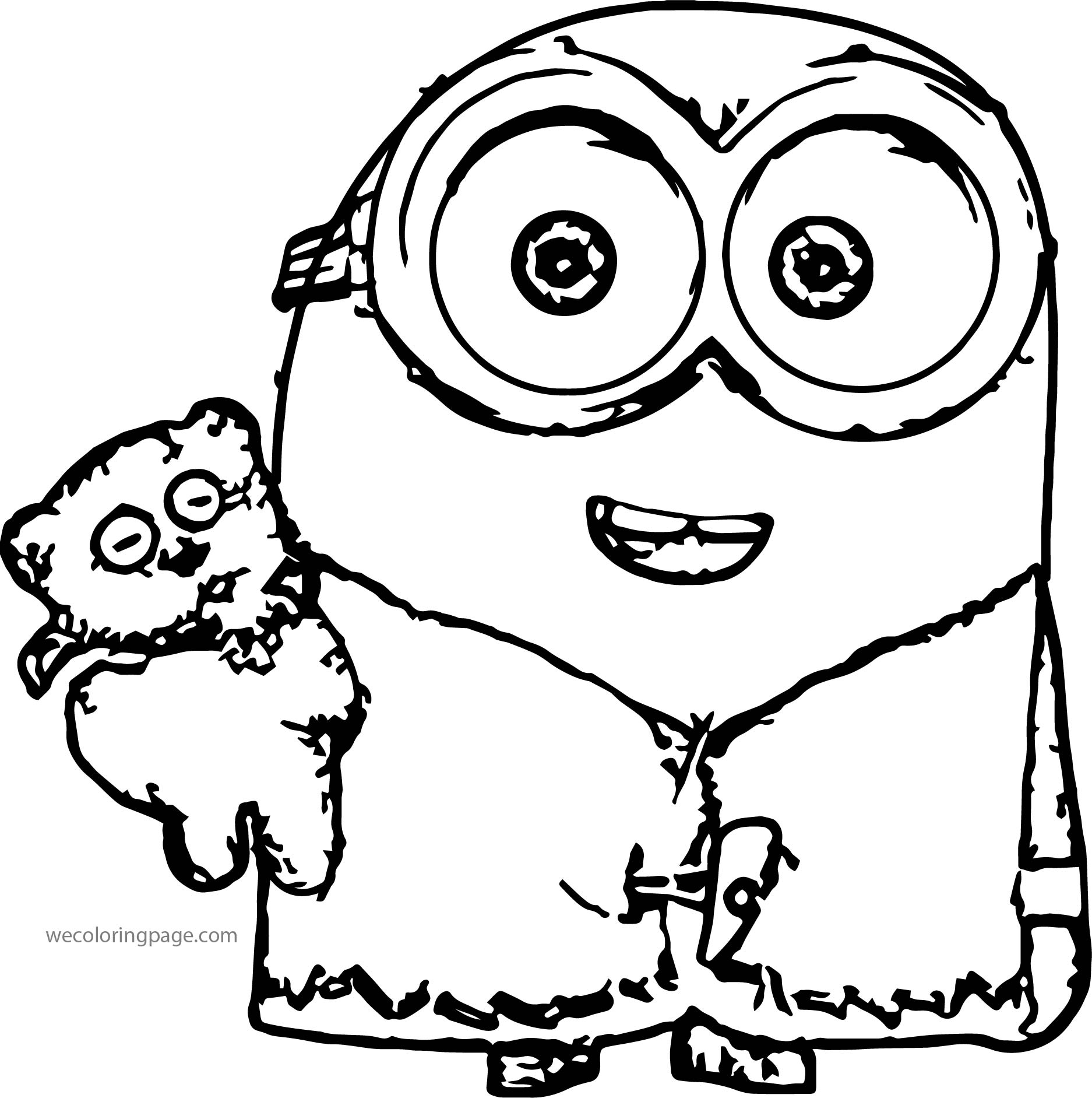 Minions Bob Bear Sleep Time Coloring Page