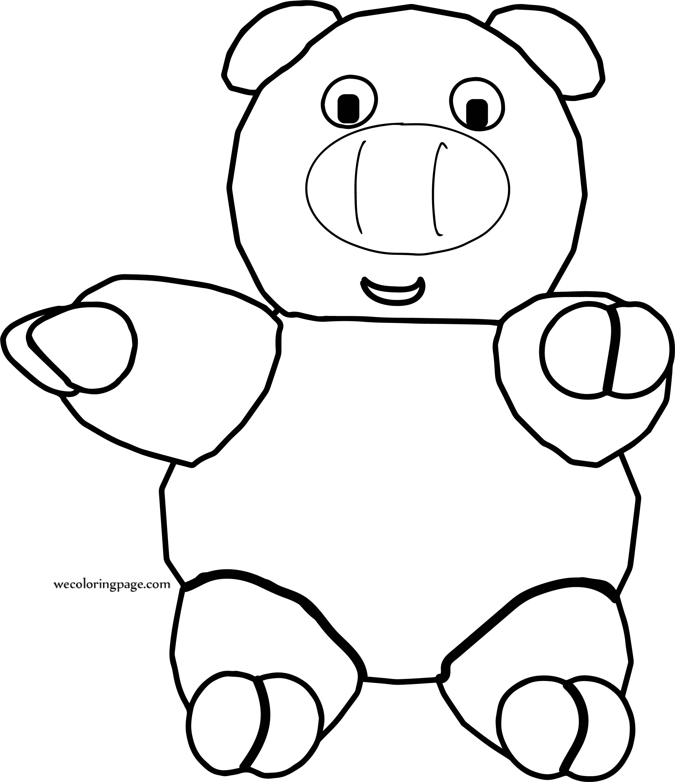 Pig Happy Toy Cartoon Coloring Page