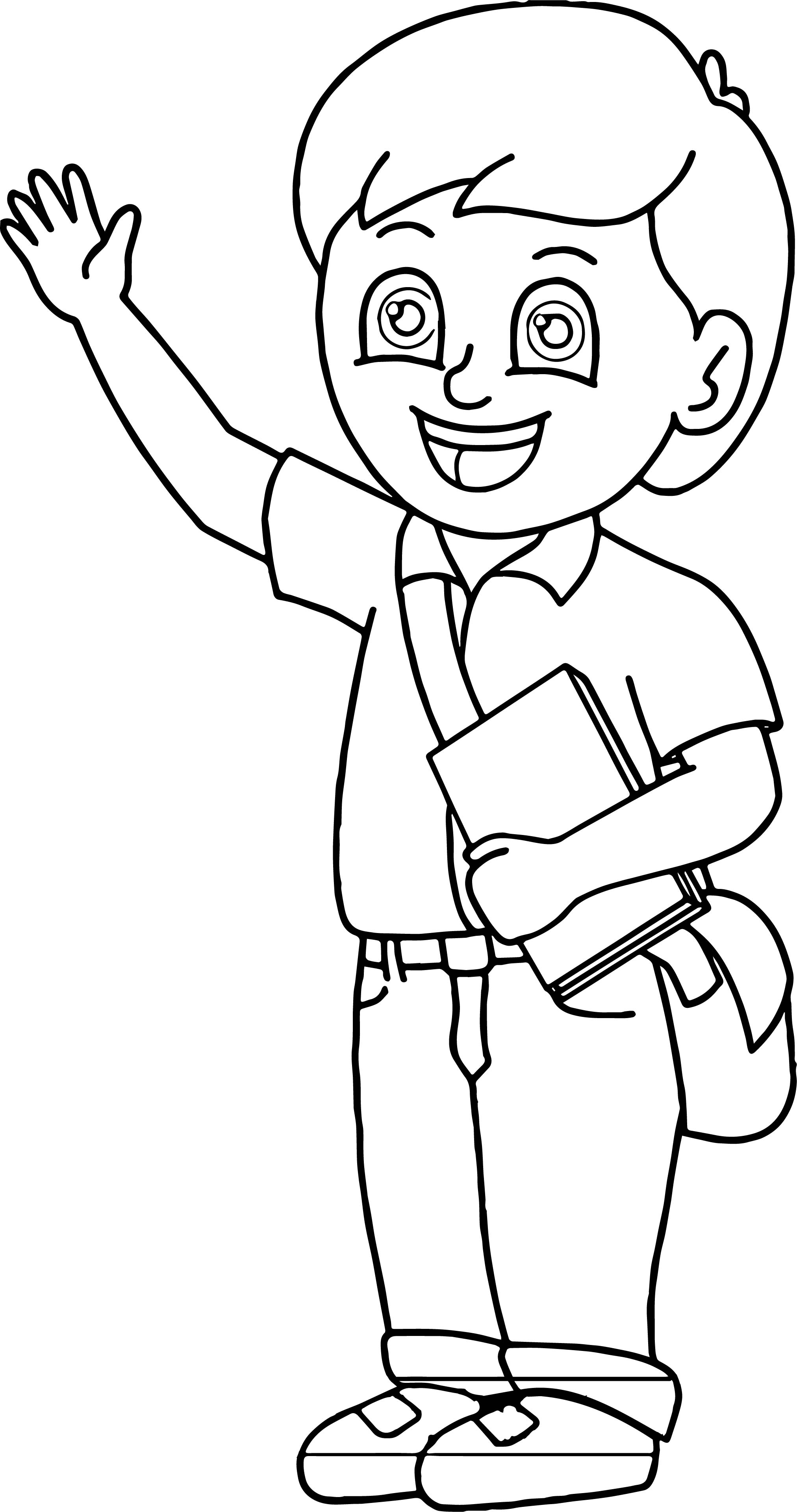 School Bag Boy Hello Coloring Page
