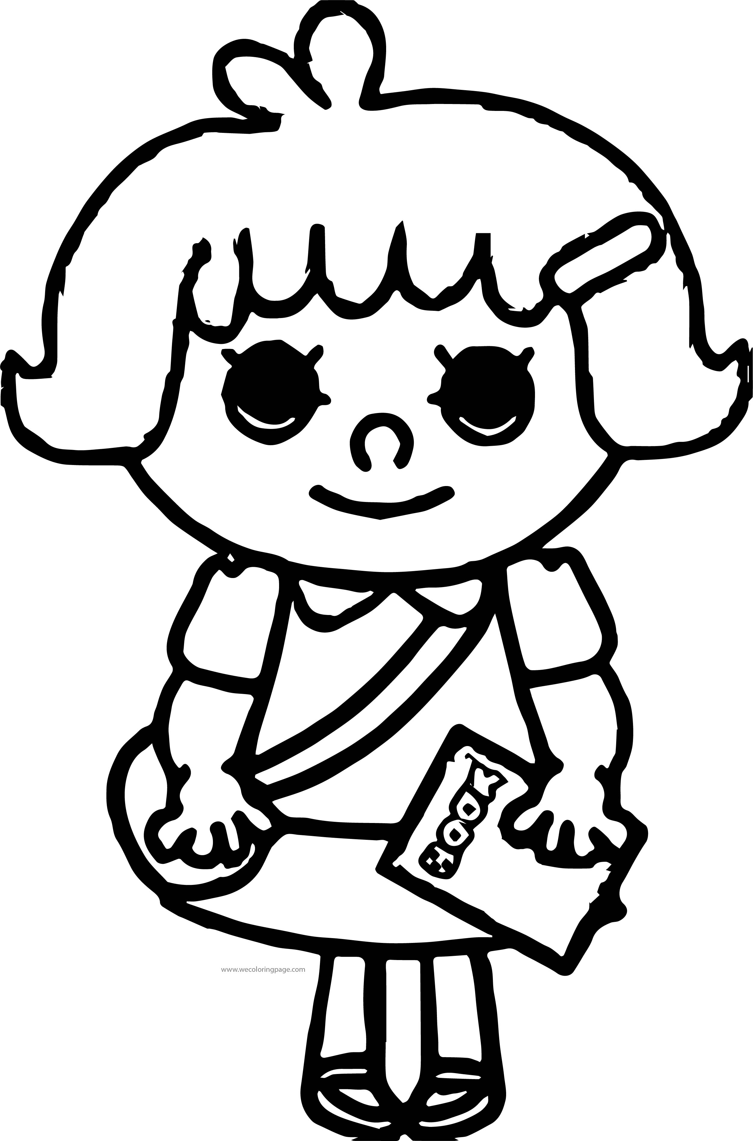 School Bag Girl Coloring Page