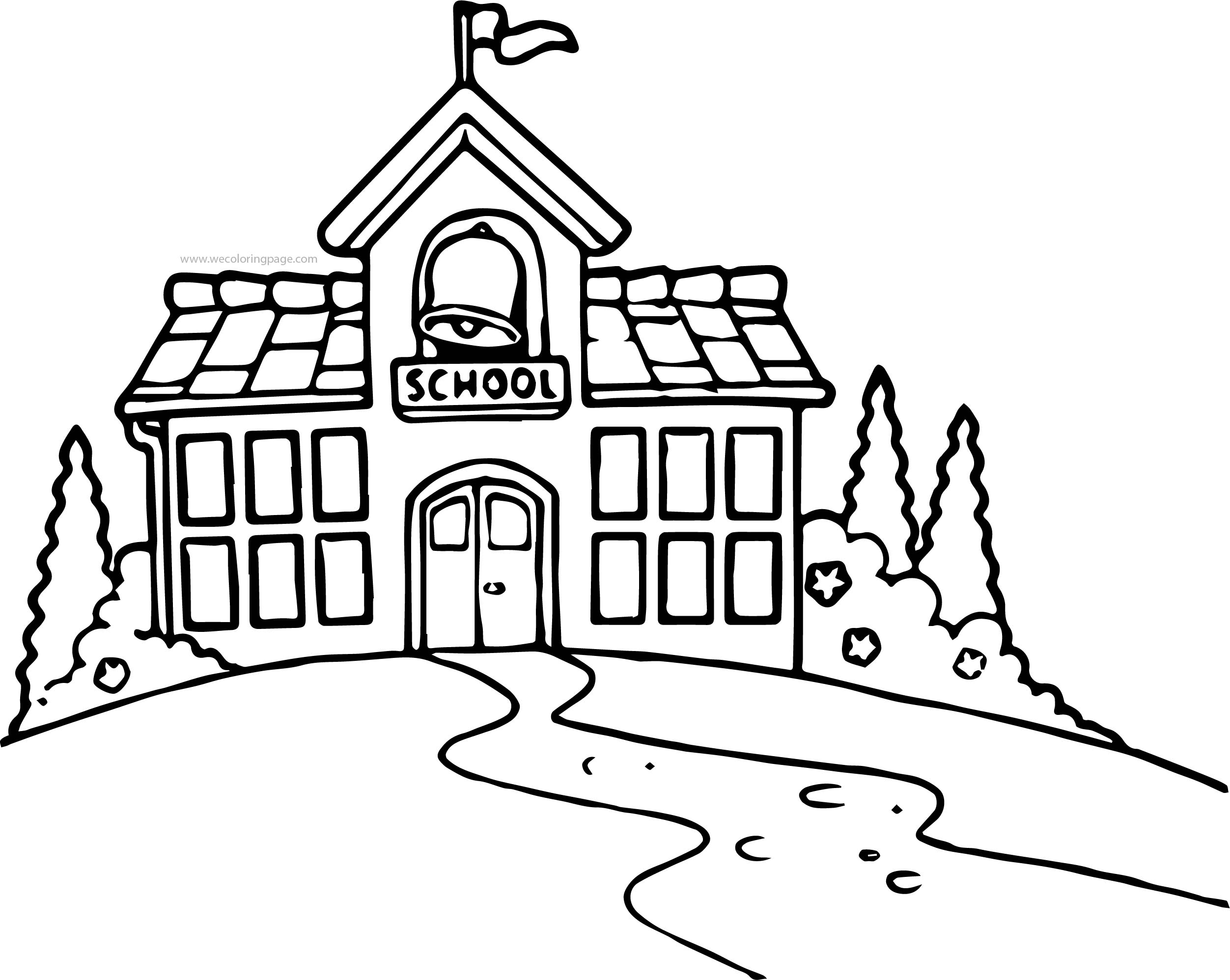 School Building Black And White School Building Coloring Page ...