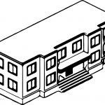 School Building Coloring Page