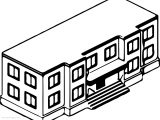 School Building Coloring Page