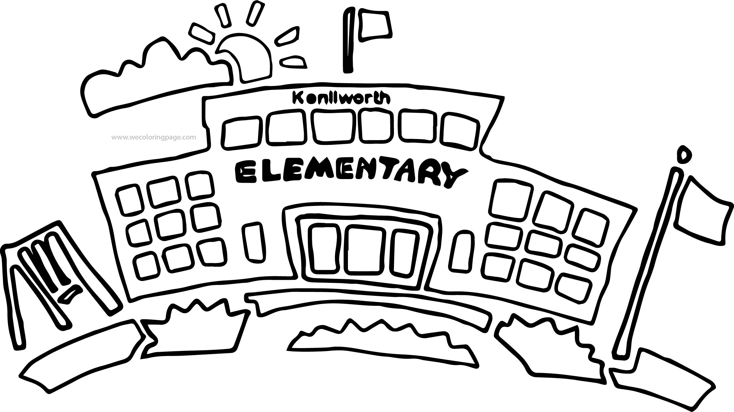 School Building Elementary Coloring Page