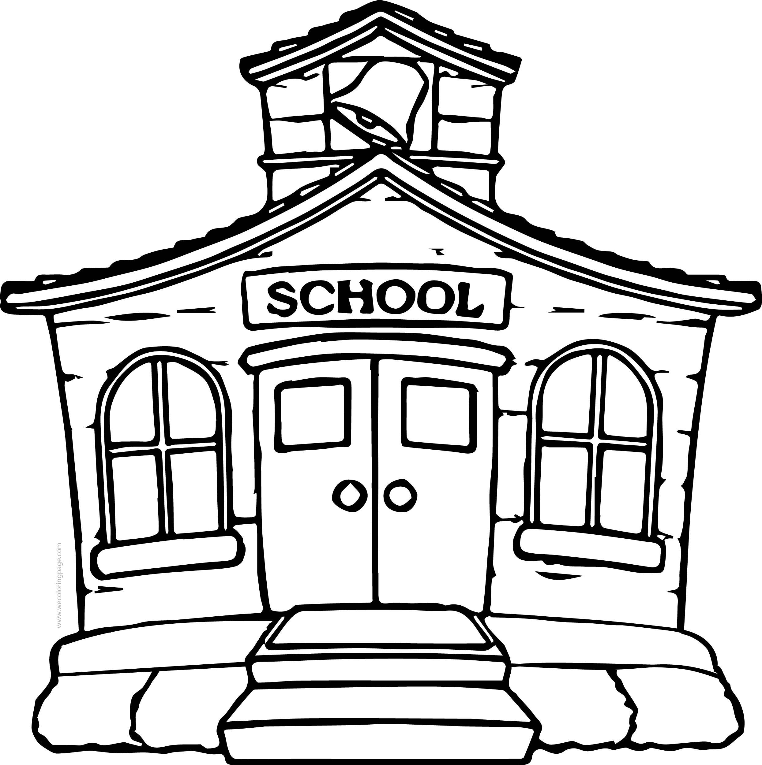 School Building Free School Building Coloring Page
