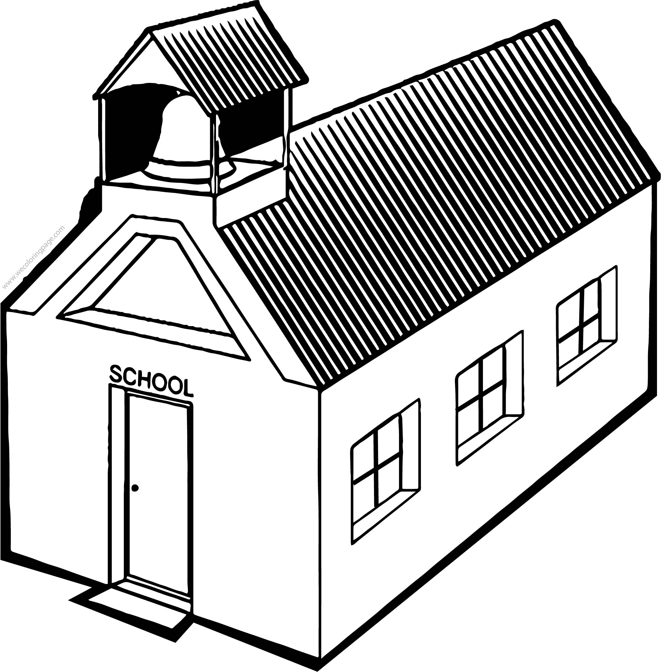 School Building Perspective Coloring Page