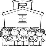 School Kids Schoolhouse Coloring Page