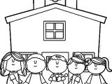 School Kids Schoolhouse Coloring Page