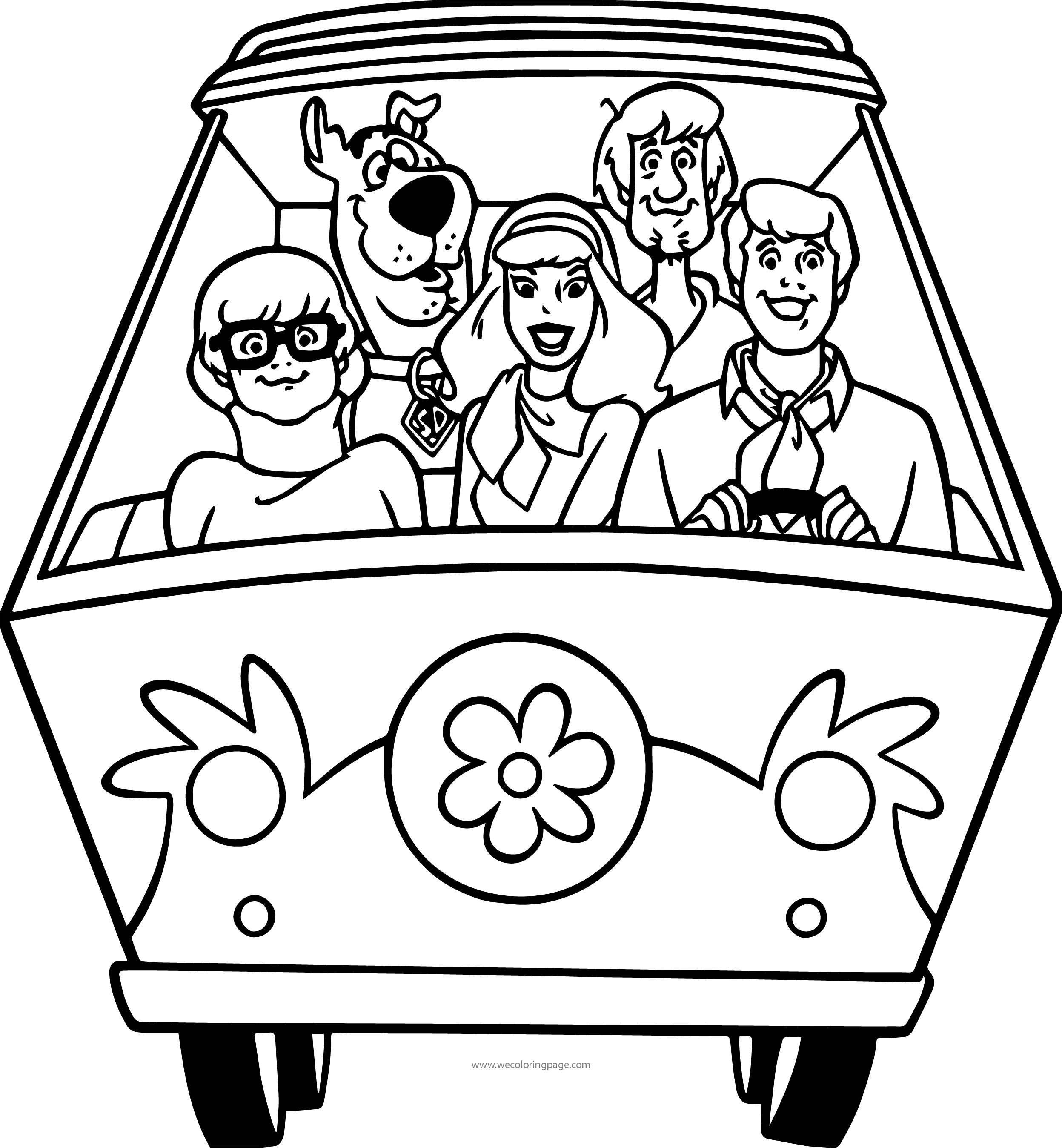 Scooby doo Car Front View Coloring Page